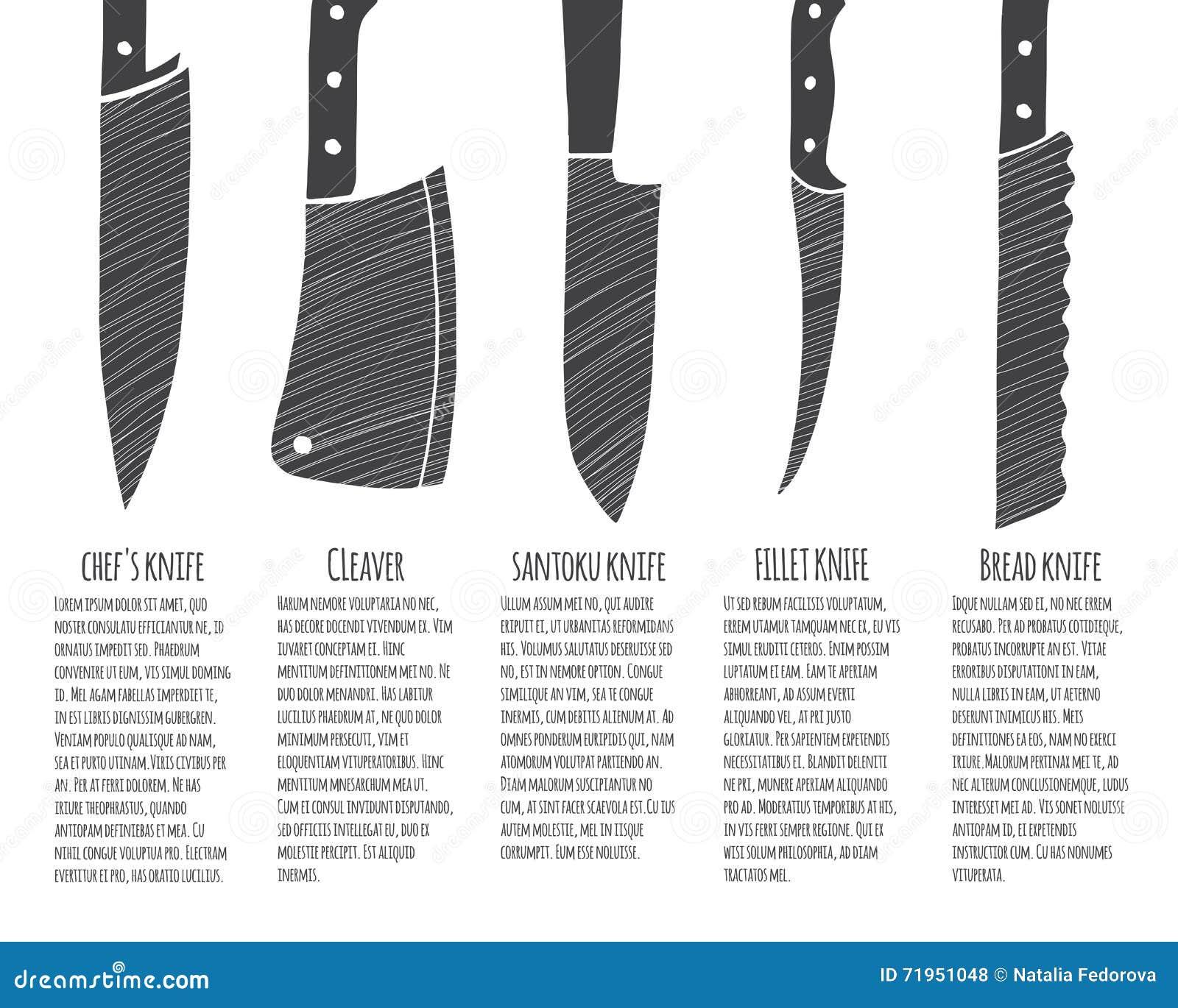 Tipi di coltelli da cucina illustrazione vettoriale - Coltelli da cucina ...