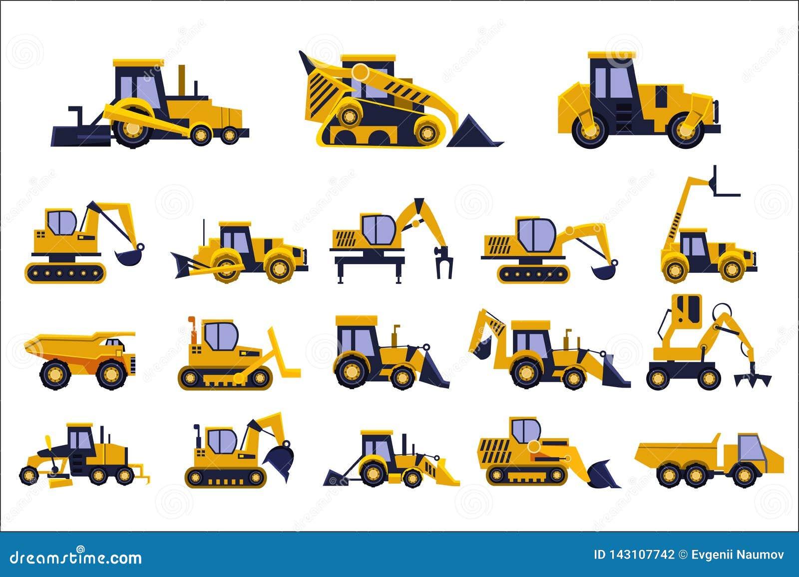 Tipi differenti di camion messi, attrezzatura pesante, illustrazioni della costruzione di vettore dei veicoli della costruzione s
