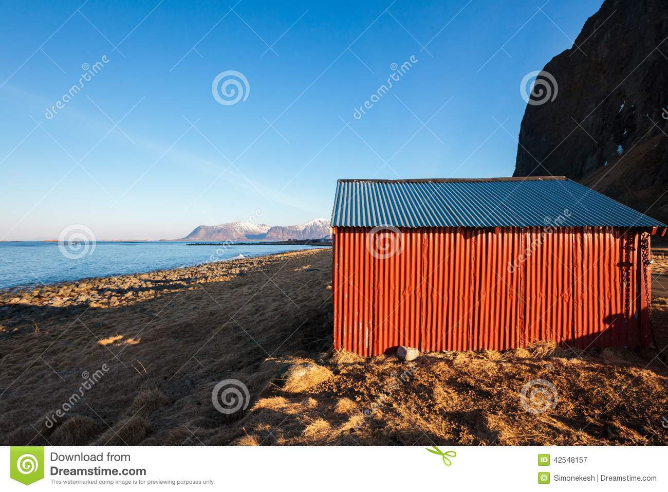 Norwegian cottage near the sea royalty free stock photo 1233963 - The house on the rock the ultimate refuge in a norwegian fjord ...