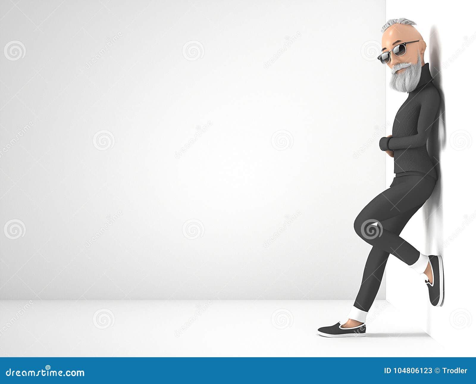 Tipo anziano dei pantaloni a vita bassa con il personaggio dei