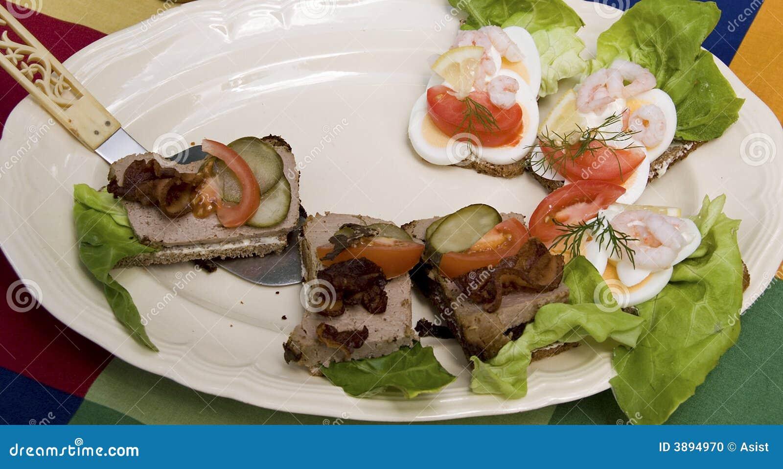 Tipo aperto panini dello scandinavo