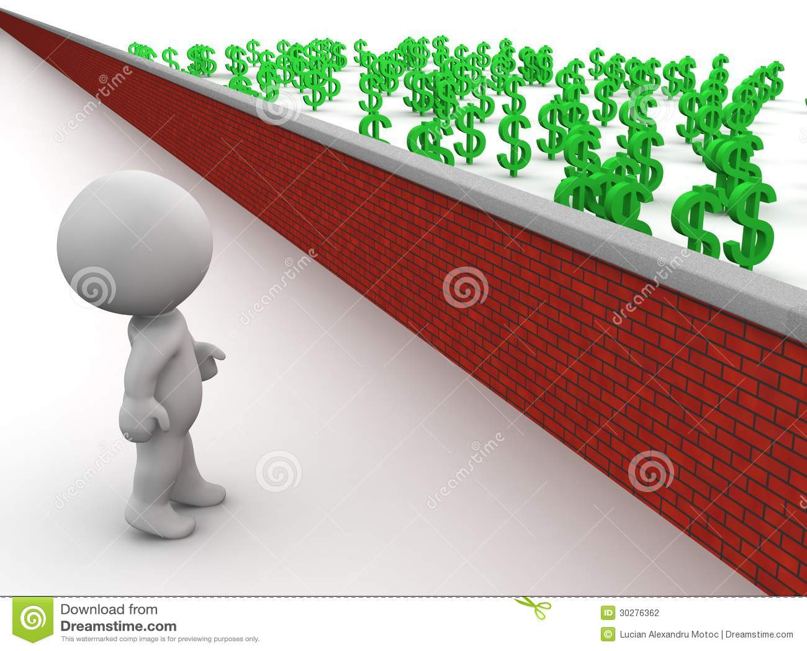 Uomo 3D che esamina soldi sopra la parete