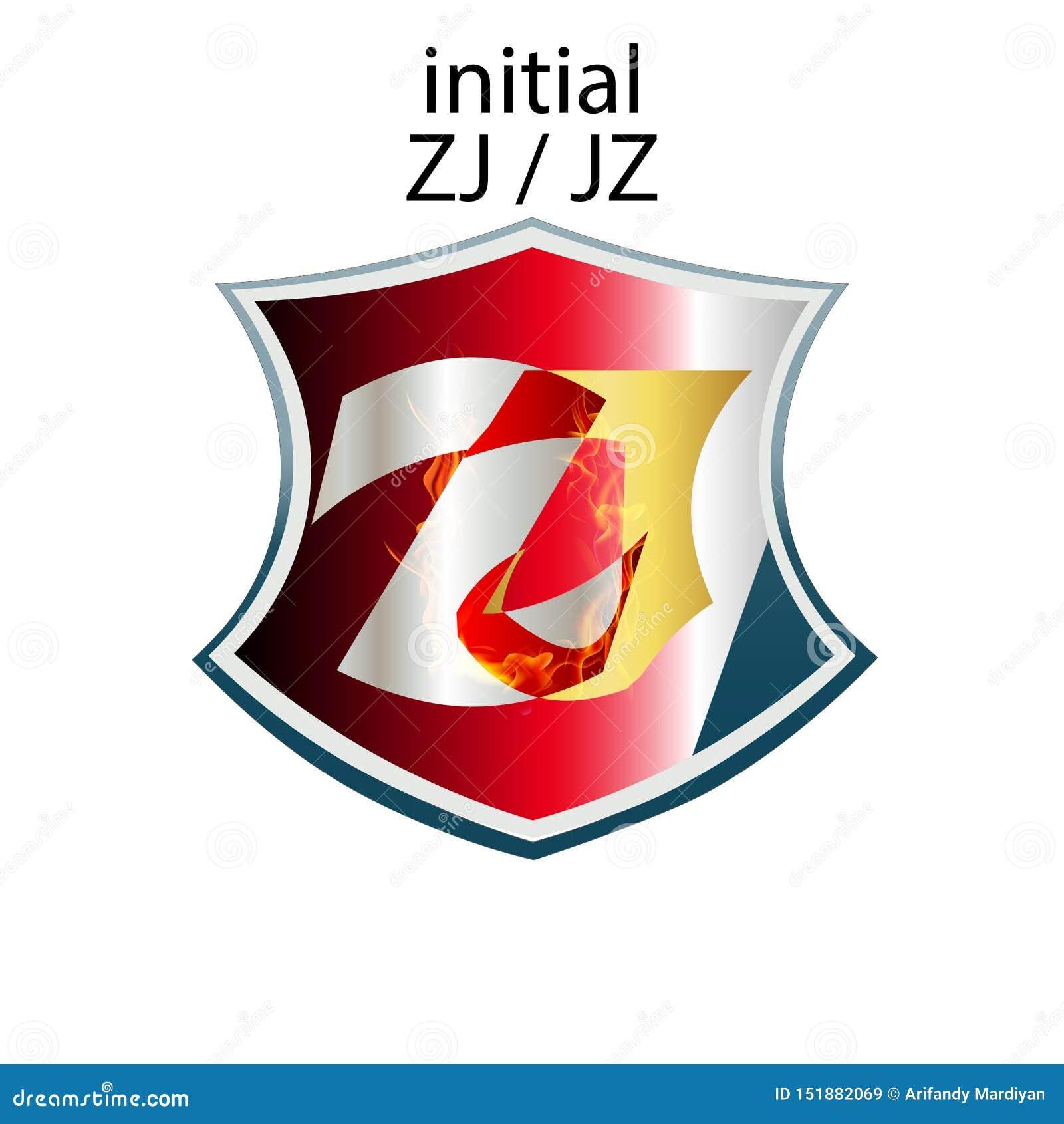 Tipo elegante simples ZJ ou JZ da letra inicial