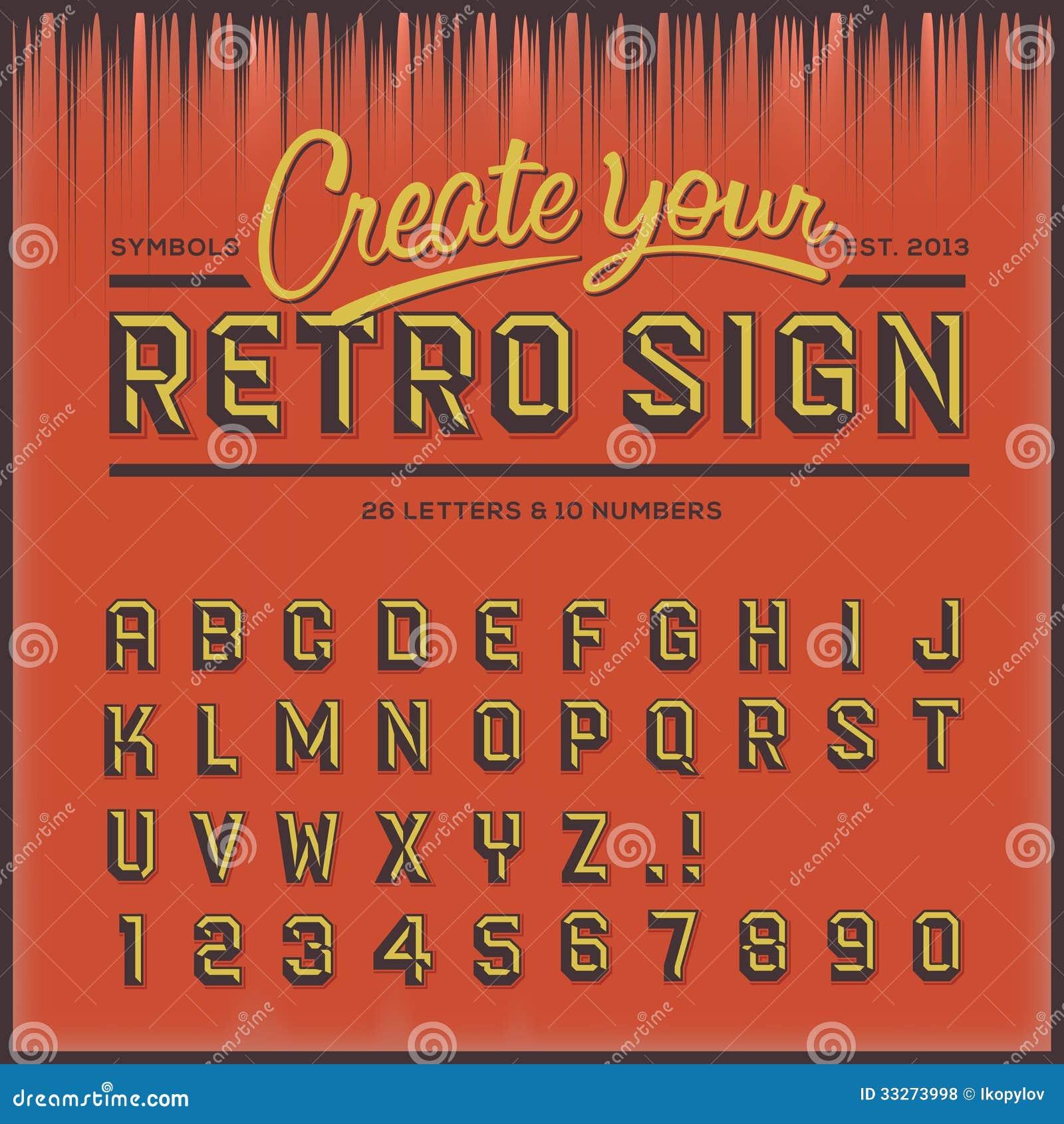 Tipo fuente retro, tipografía del vintage
