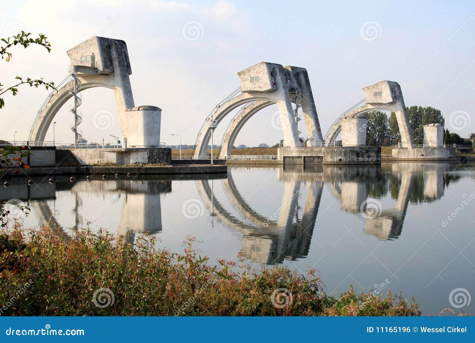 Tipo holandés puertas del visera en el Rin cerca de Amerongen