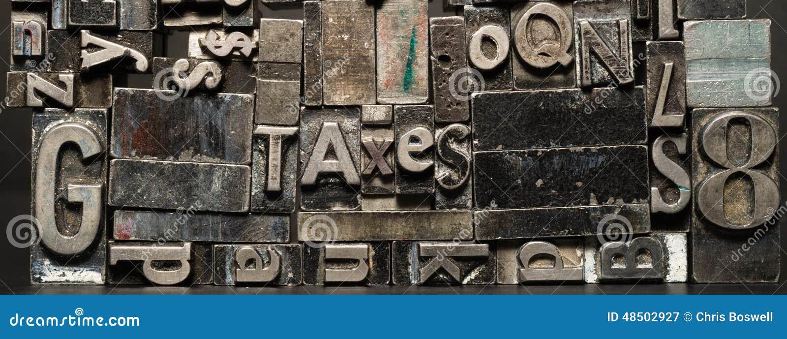 Tipo impuestos obsoletos compuestos tipo del metal del texto de la tipografía de la prensa
