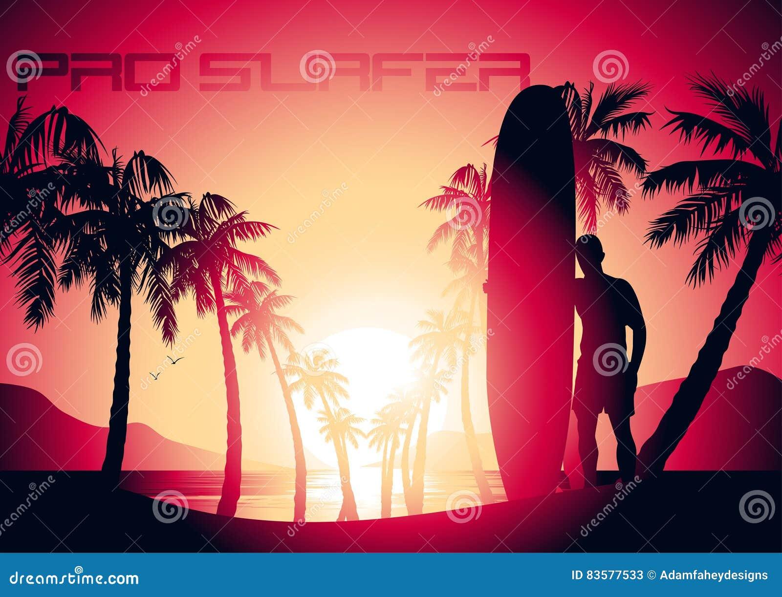 Tipo praticante il surfing ed alba ad una spiaggia tropicale