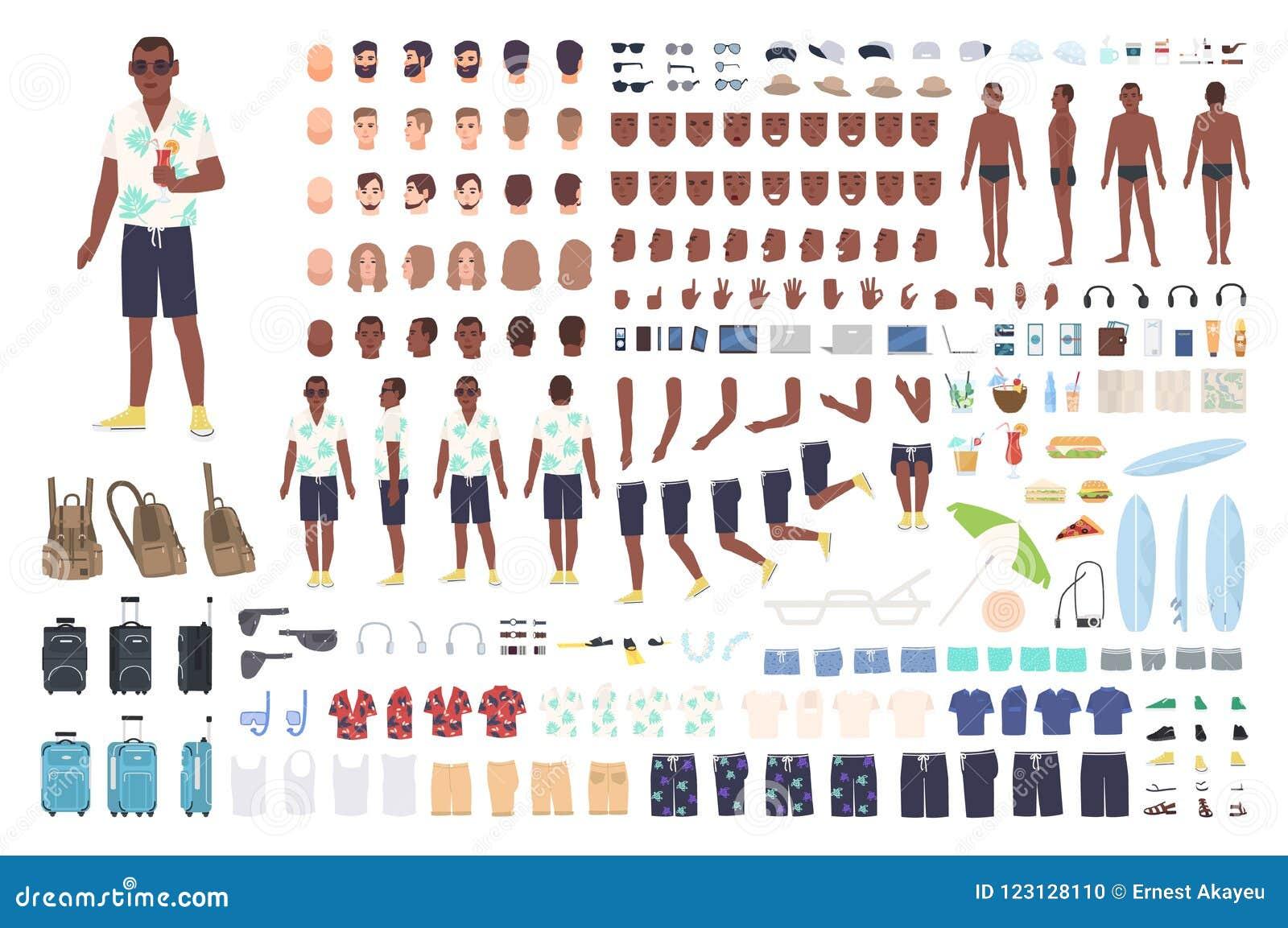 Tipo sull animazione di vacanza o sul corredo di DIY Raccolta degli elementi turistici maschii del corpo, gesti, vestiti, attrezz