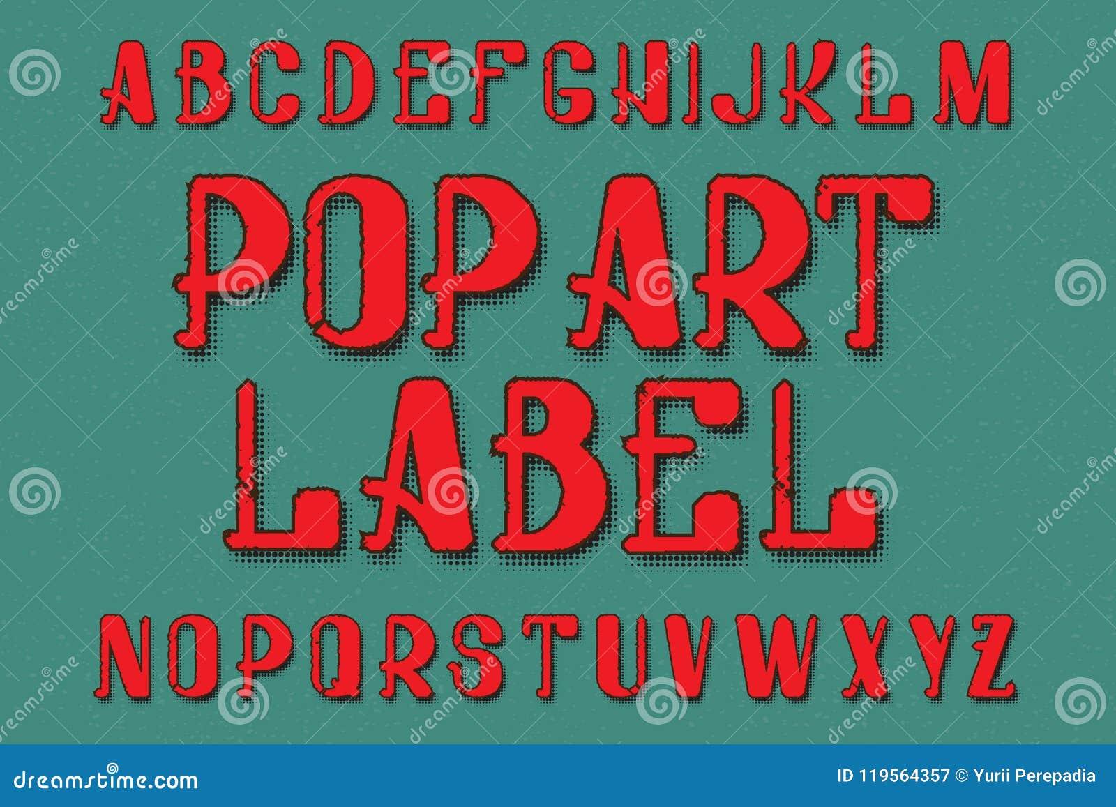 Tipografía de Art Label del estallido Fuente retra Alfabeto inglés aislado