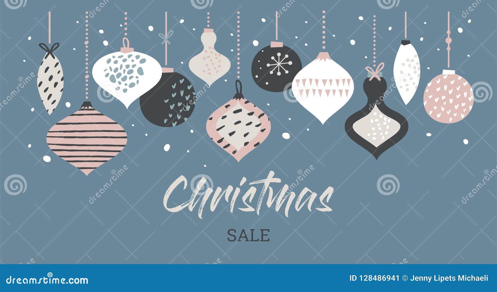 Tipografía de la plantilla de la bandera de la venta de la Navidad con las bolas de la Navidad, para los aviadores de la venta, e