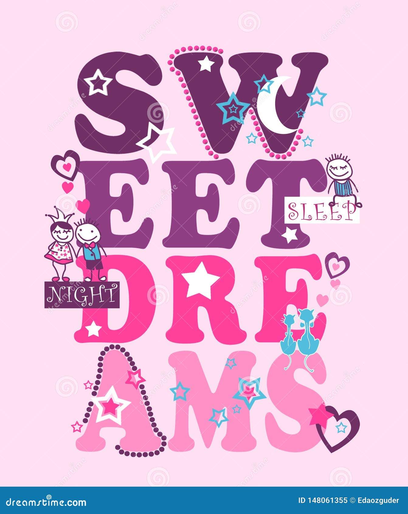 Tipografía de los sueños dulces, impresión de la camiseta de los niños