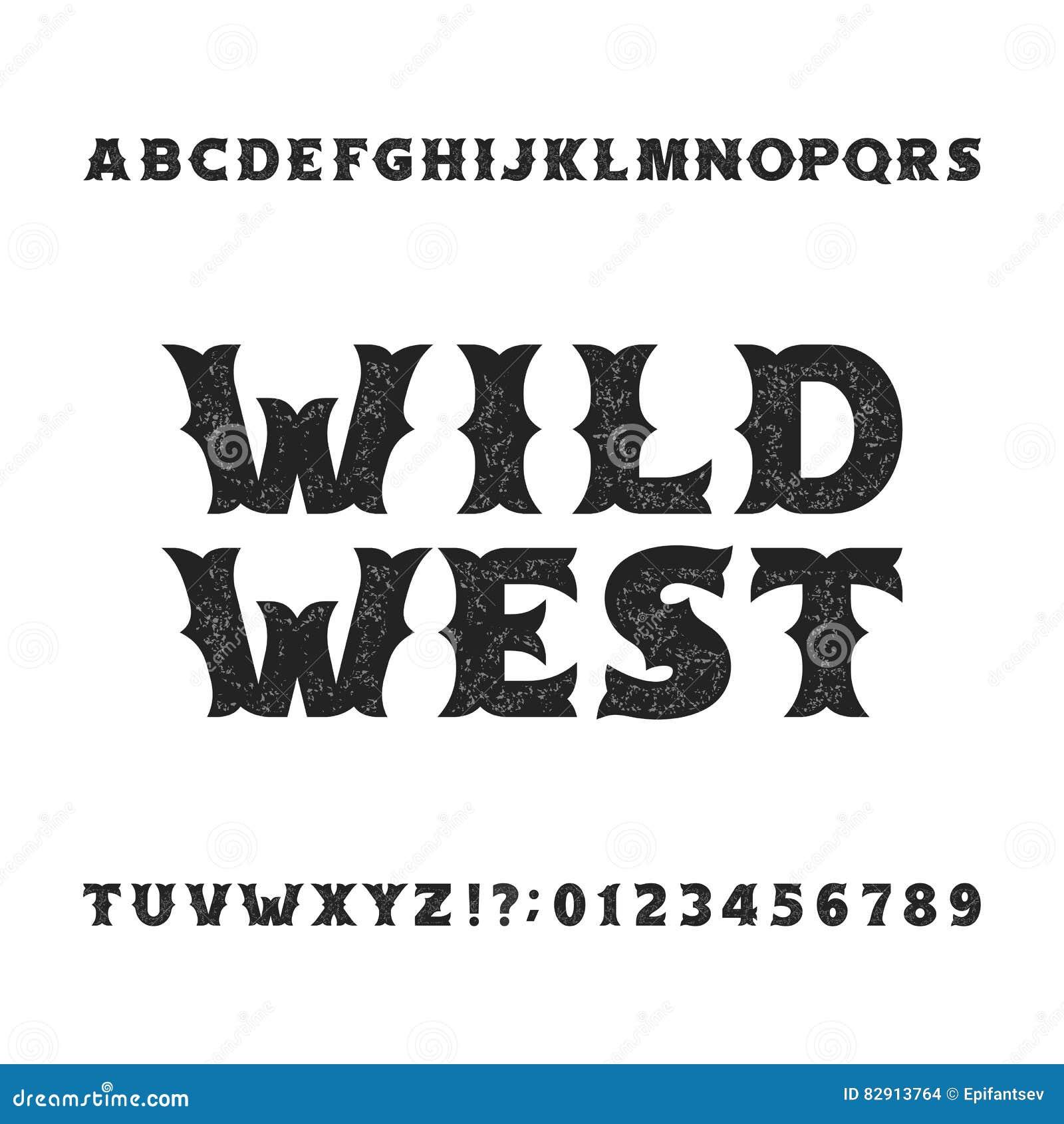 Tipografía del vintage Fuente apenada retra del alfabeto Letras y números intrépidos del oeste salvajes