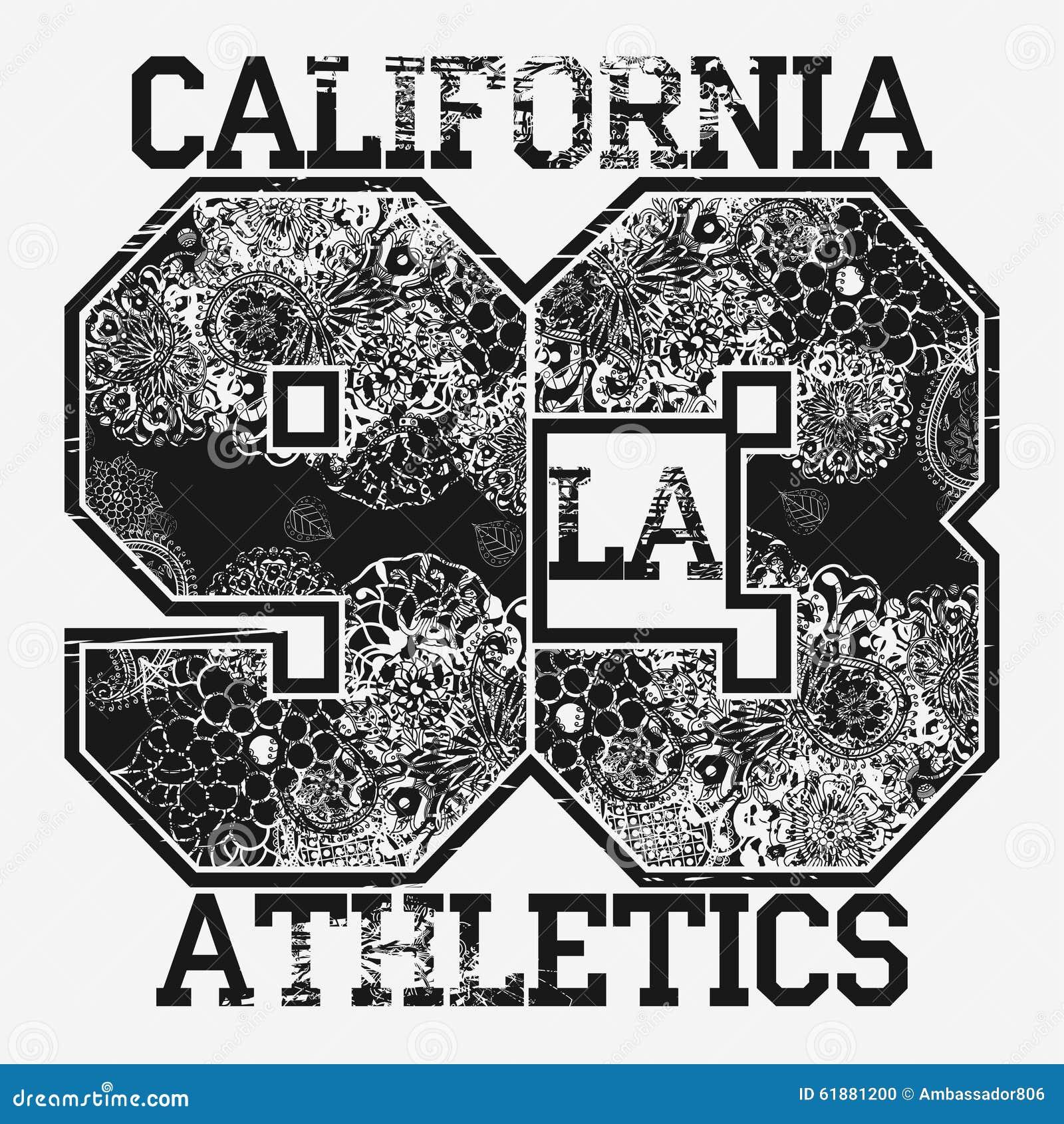 Tipografia da forma do t-shirt de Califórnia