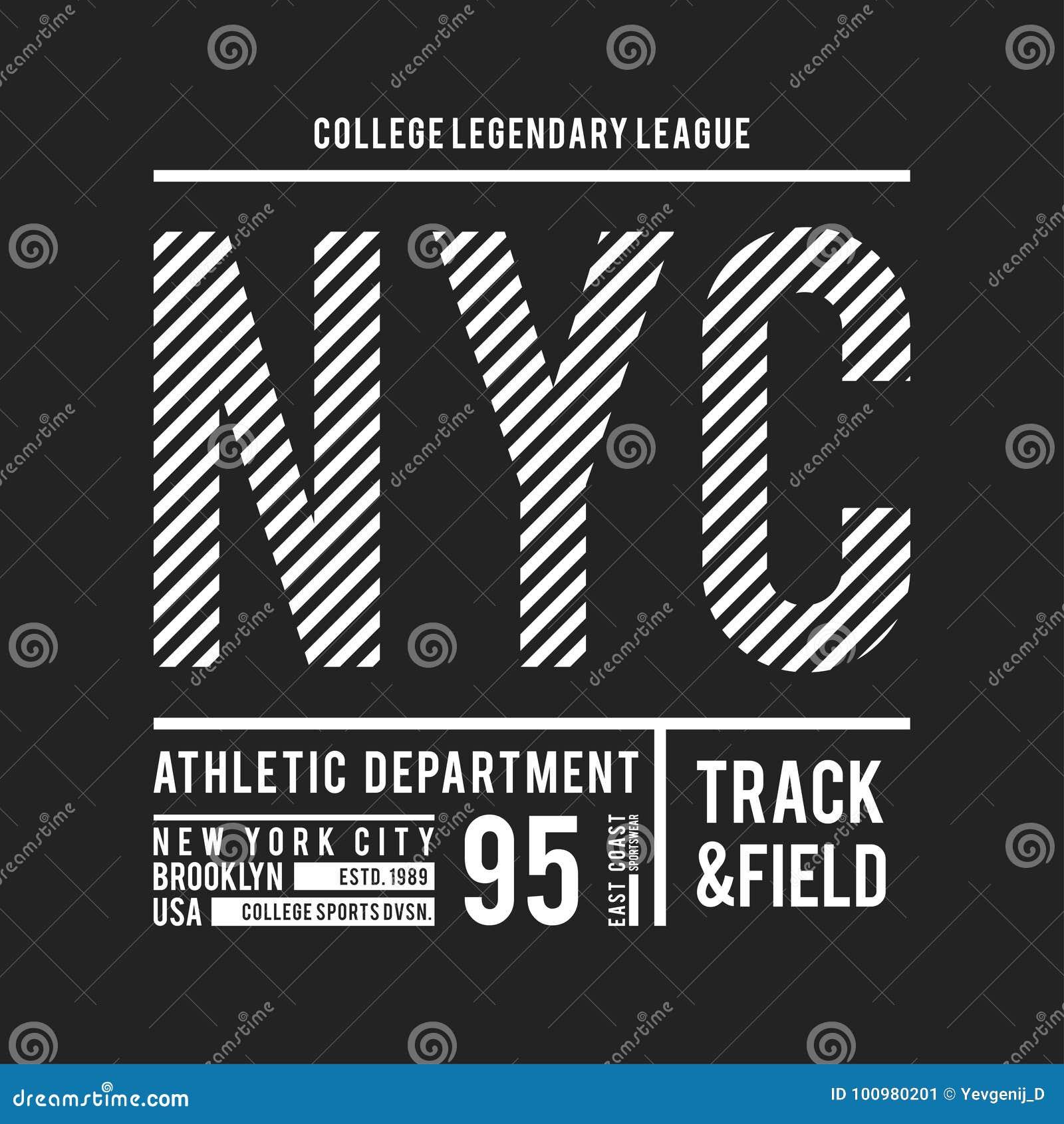 Tipografia de New York, Brooklyn para a cópia do t-shirt Remendo atlético para o gráfico do T