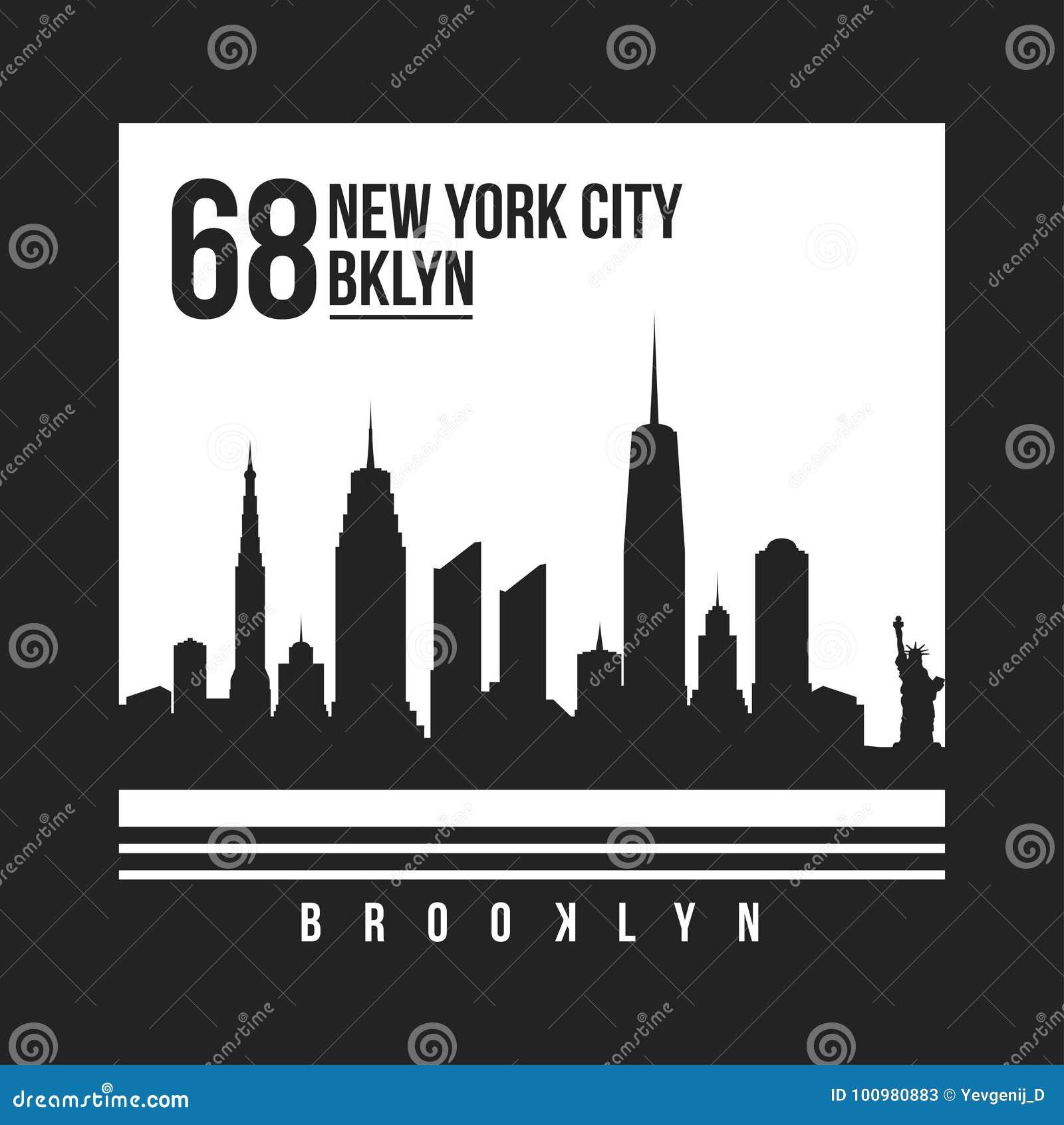 Tipografia de New York, Brooklyn para a cópia do t-shirt Skyline de New York City para o gráfico do T Projeto do t-shirt