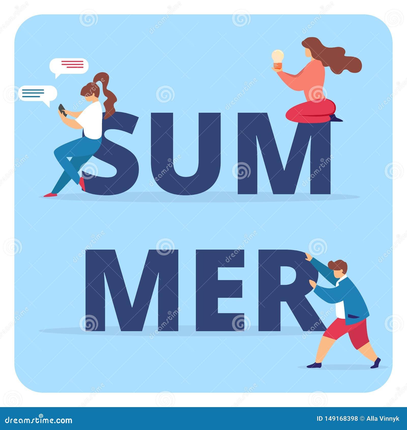 Tipografia di estate con i caratteri delle donne e degli uomini