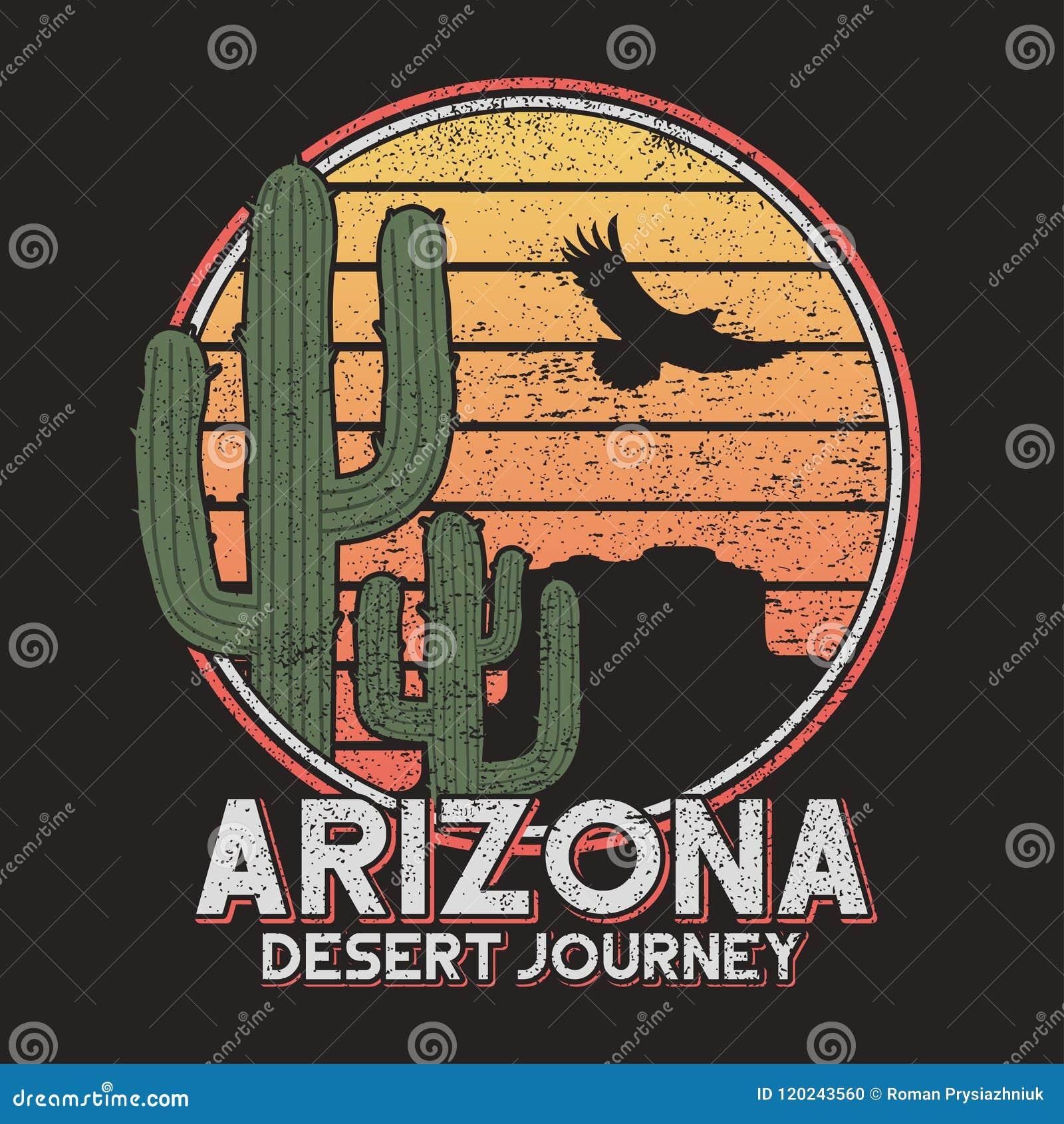 Tipografia do t-shirt do Arizona com cacto, montanha e águia Cópia para gráficos do t-shirt, slogan do vintage - abandone a viage