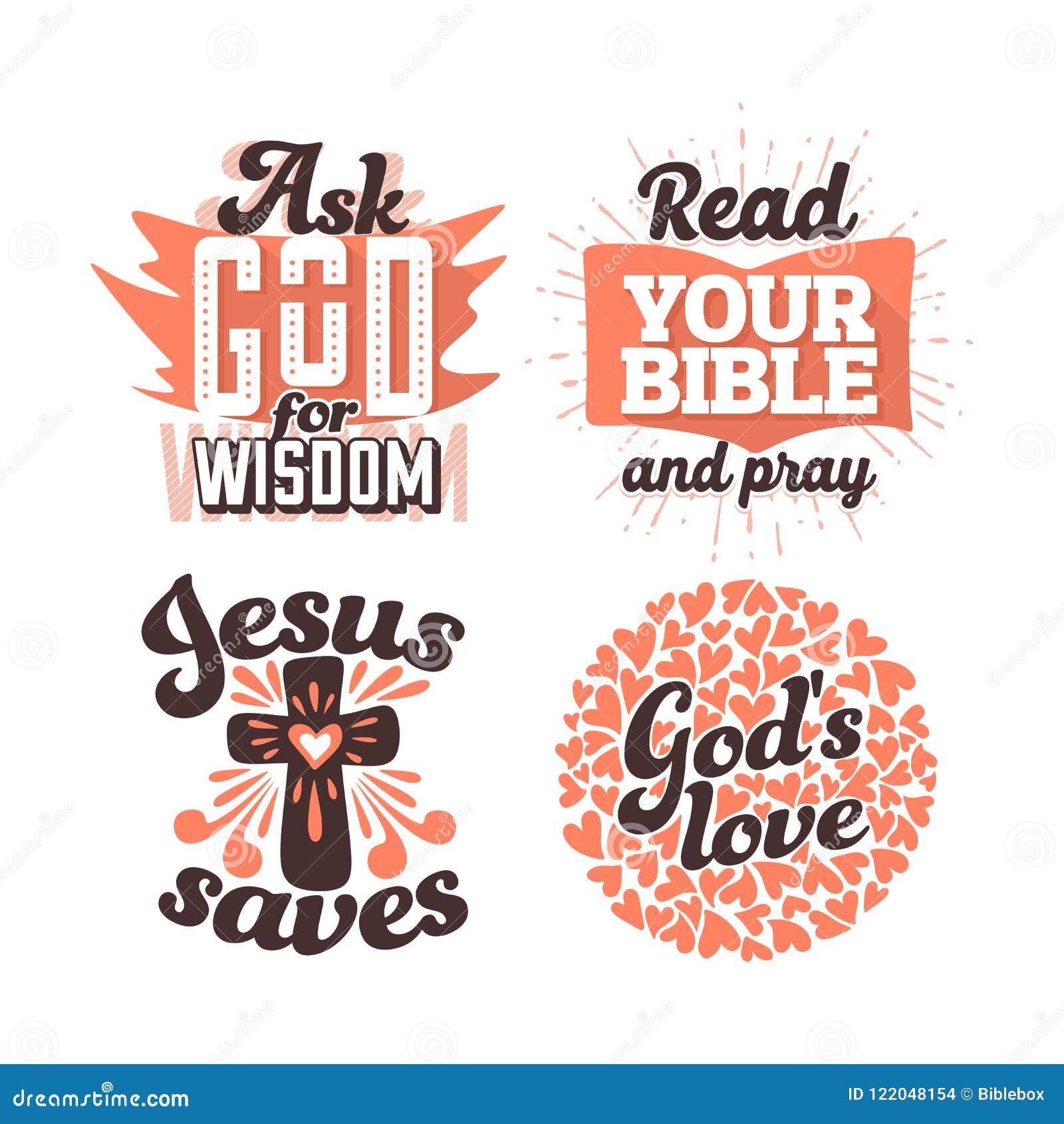 Tipografia E Rotulação Cristãs Ilustrações De Frases