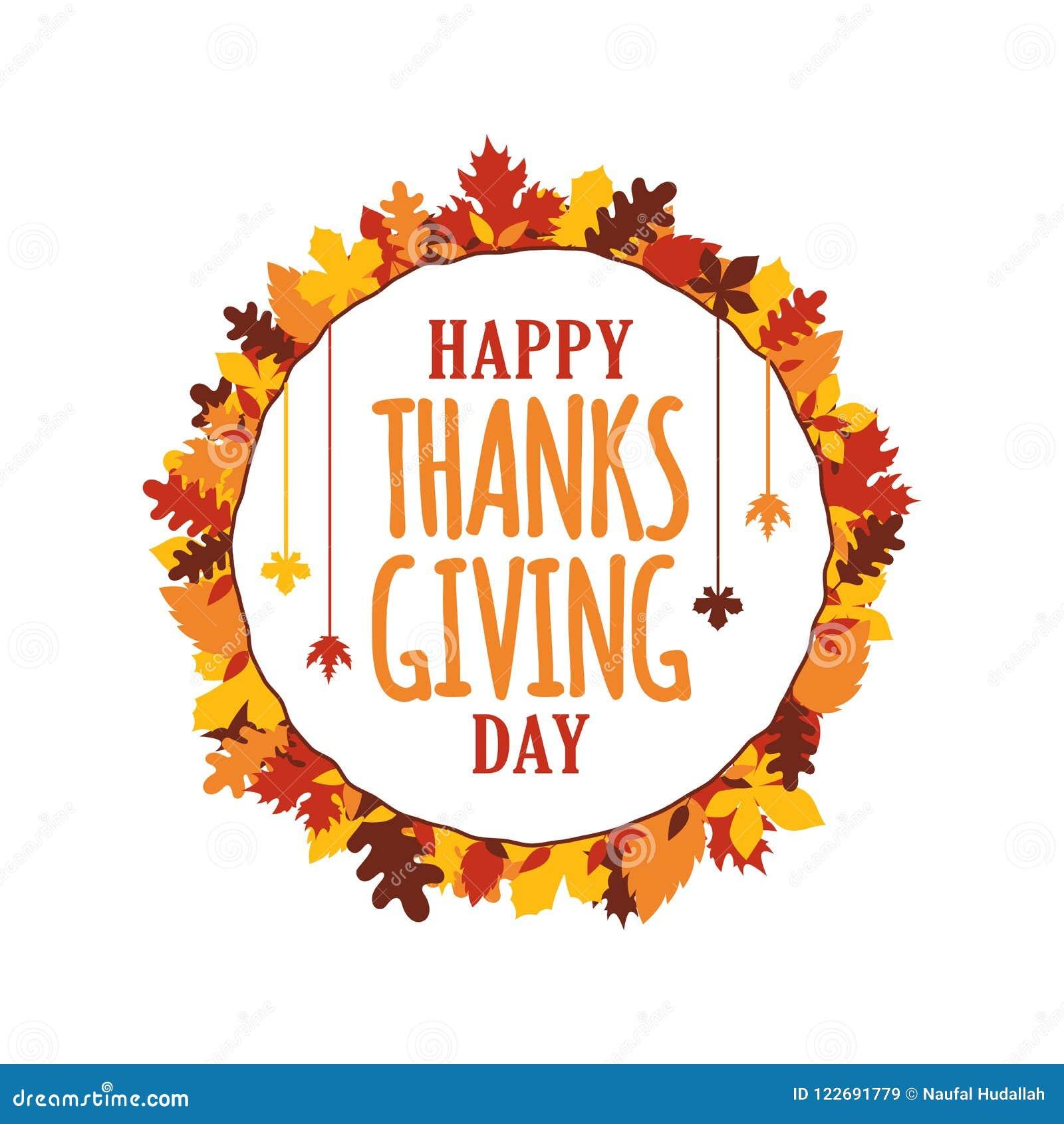 A tipografia feliz do dia da ação de graças com queda do outono deixa o quadro do ornamento Logotipo, crachá, etiqueta, bandeira,