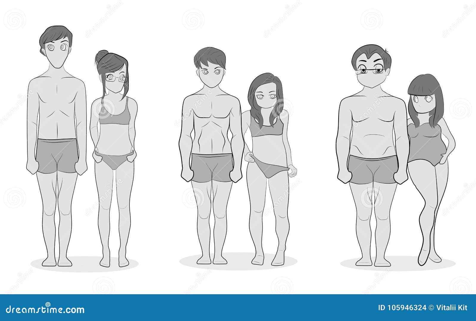 Tipos de corpo masculino e fêmea: Ectomorph, Mesomorph e Endomorph Bodytypes magros, musculares e gordos Illustratio da aptidão e