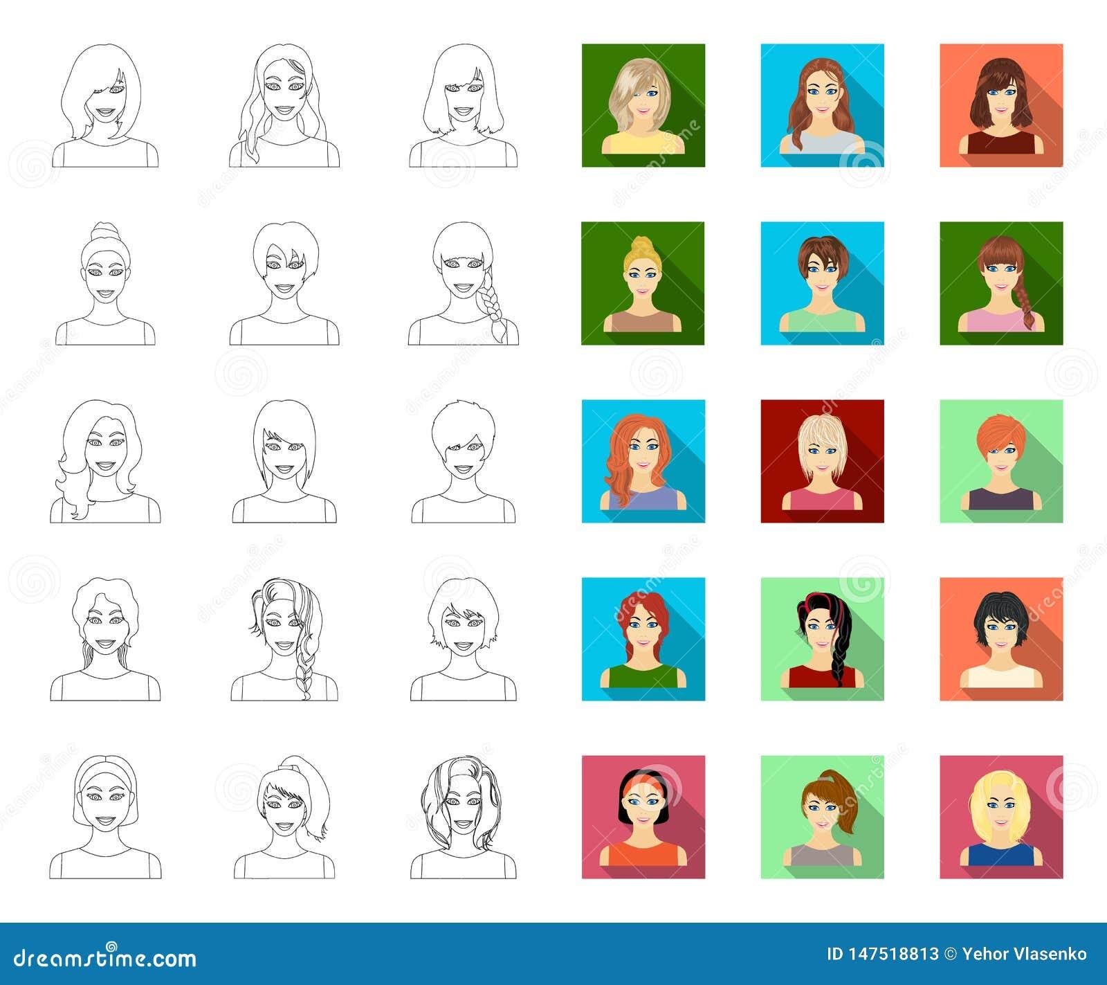 Tipos de esquema femenino de los peinados, iconos planos en la colecci?n del sistema para el dise?o Aspecto de una acci?n del s?m