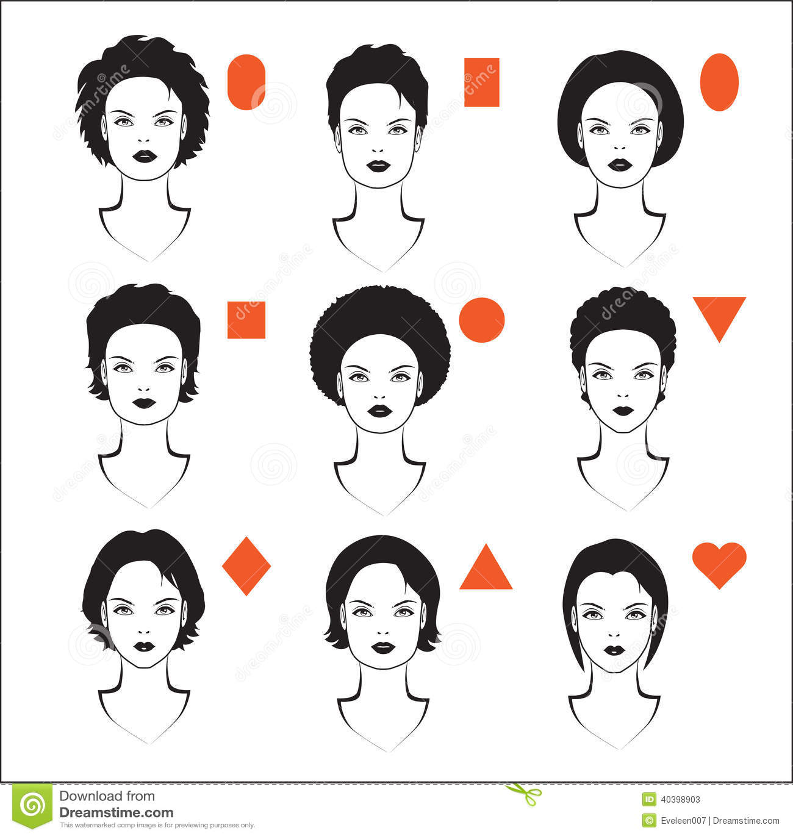 Tipos de forma de la cara ilustraci n del vector imagen for Tipos cara