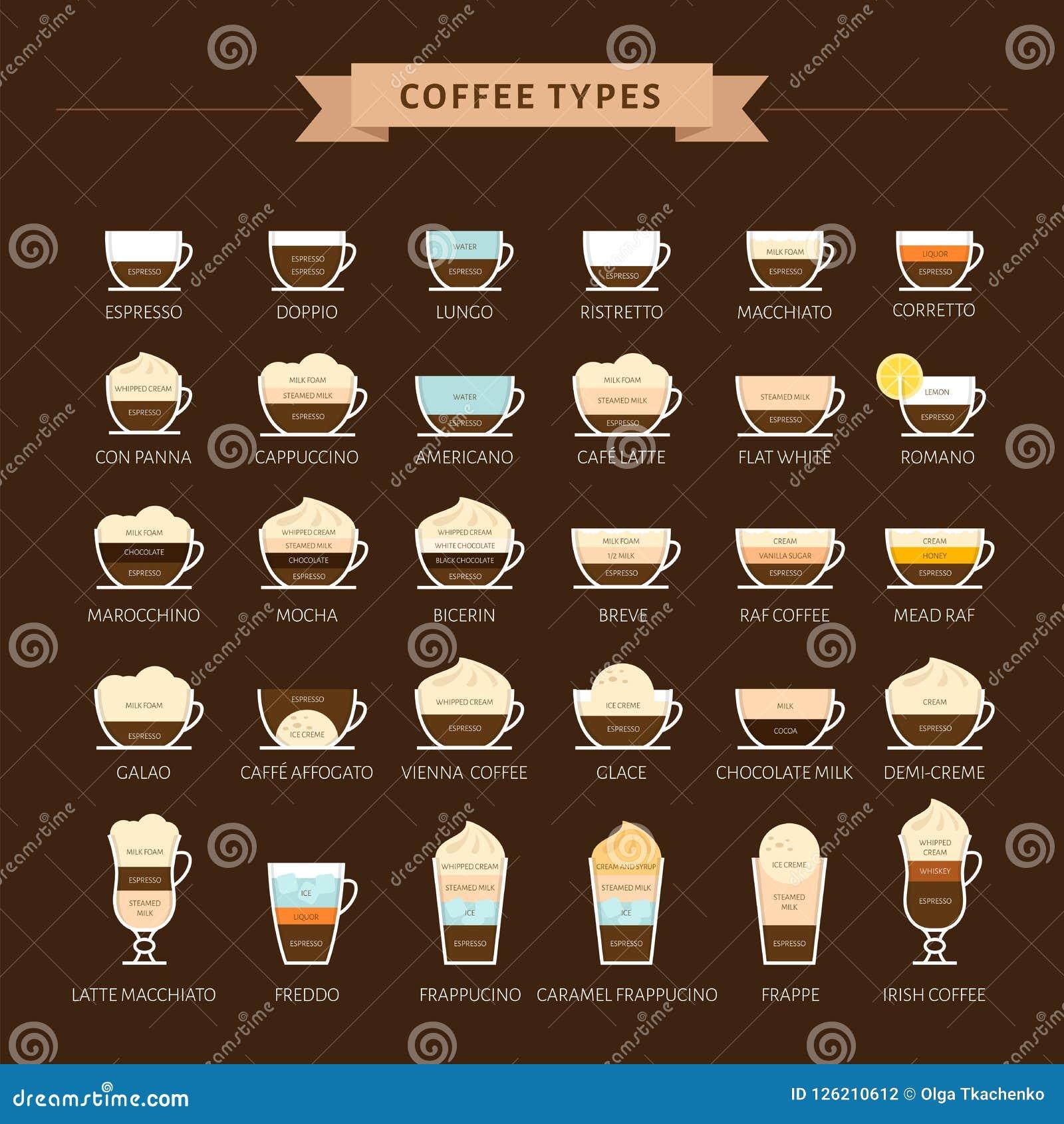 Tipos de ilustração do vetor do café Infographic de tipos do café