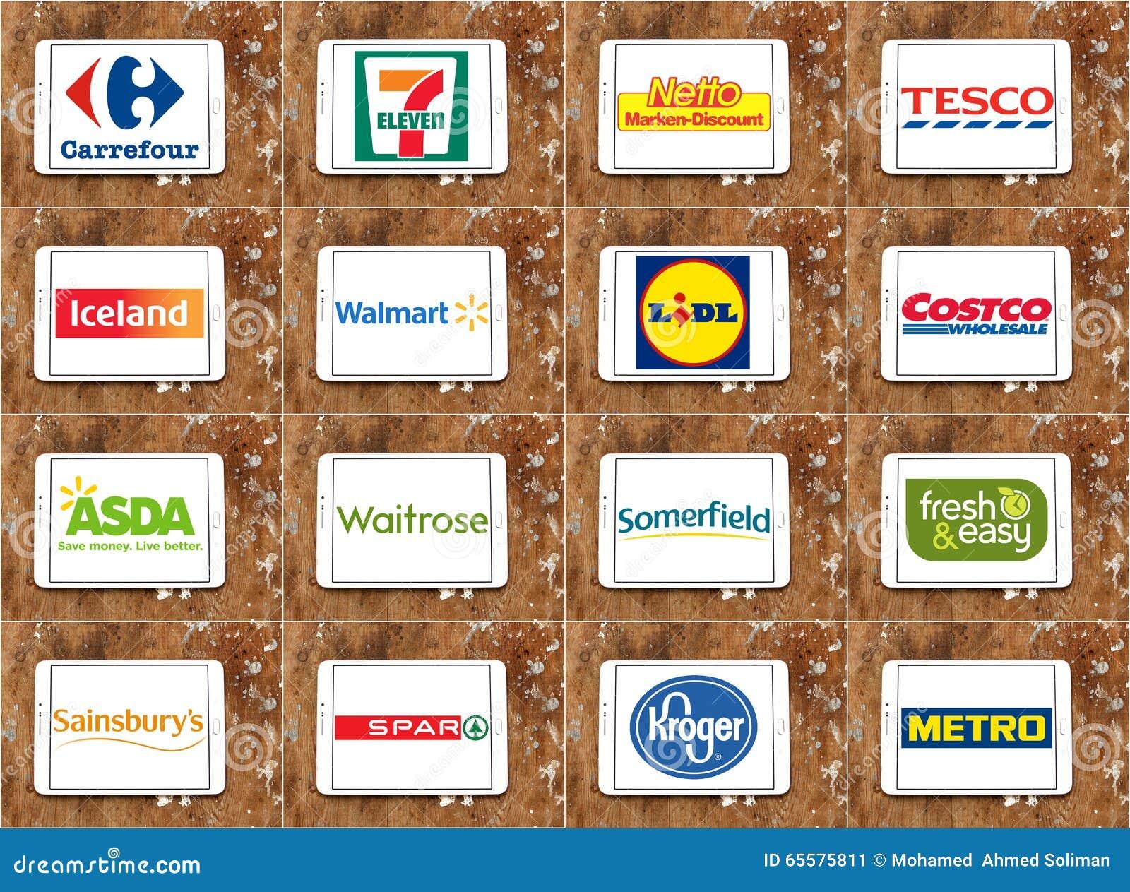Tipos e logotipos de cadeias de supermercados famosas superiores e de retalho