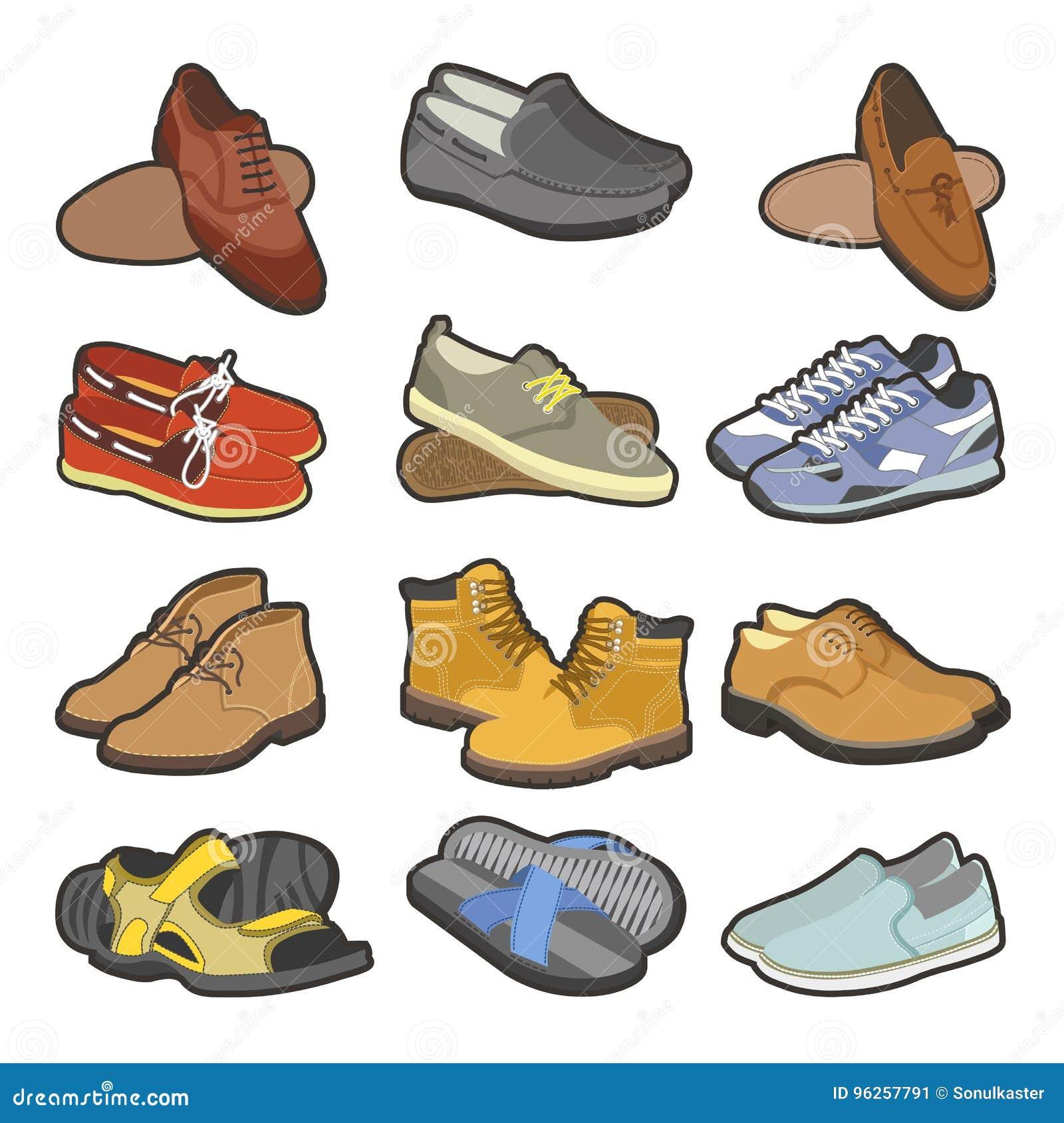 Las Botas Los Zapatos De Tipos Plano Aislados Iconos OXPkuiZ