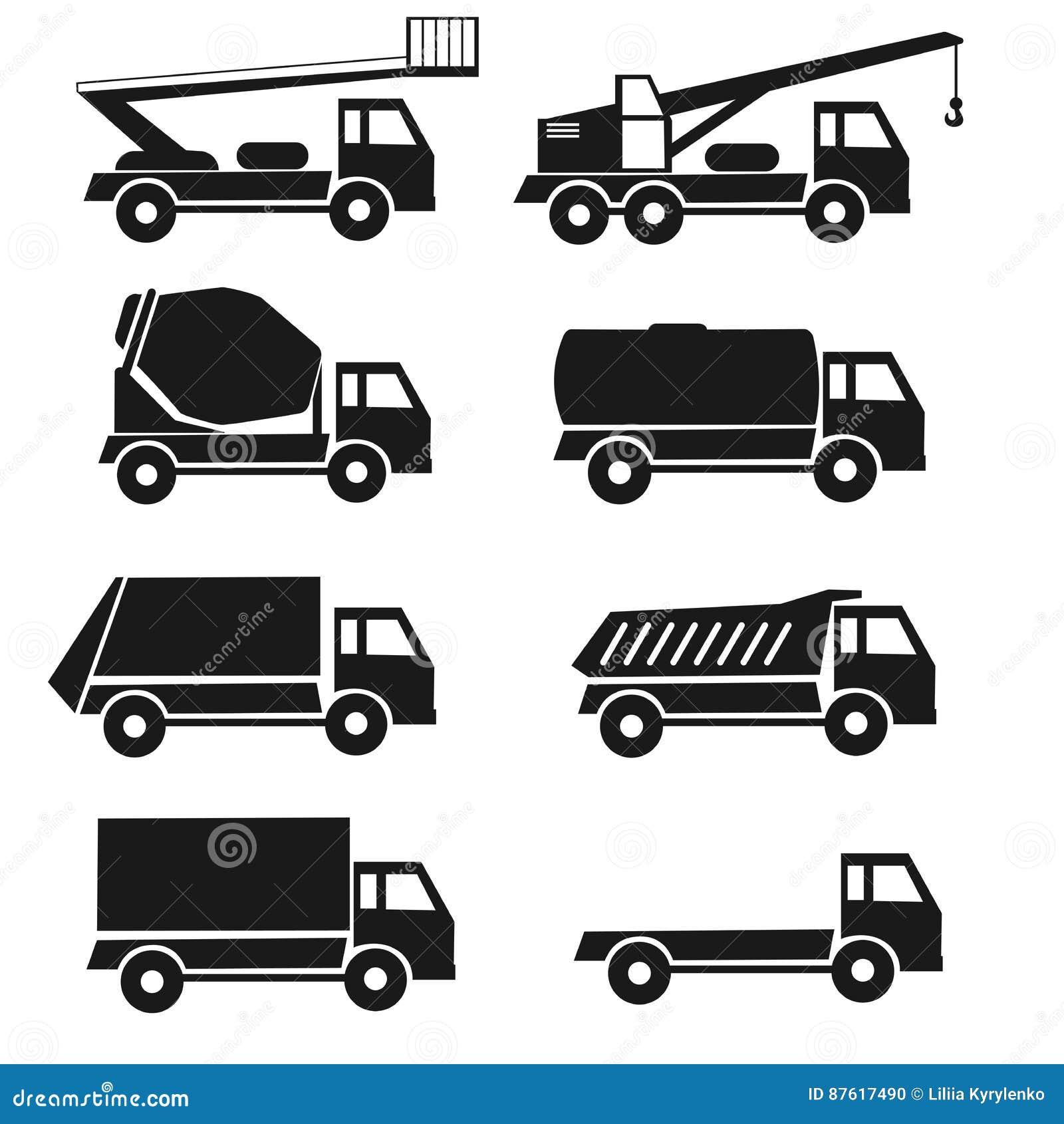 Tipos negros sistema lorrry de los iconos del detalle 8 camiones Vehículo aislado de la industria