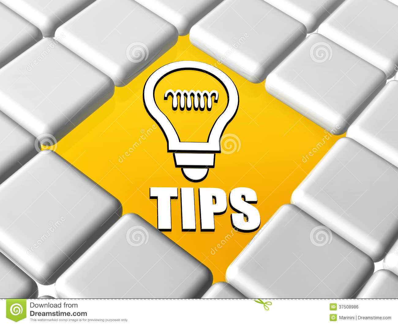Tips And Bulb Symbol In Boxes Stock Photo Image Of Knowledge