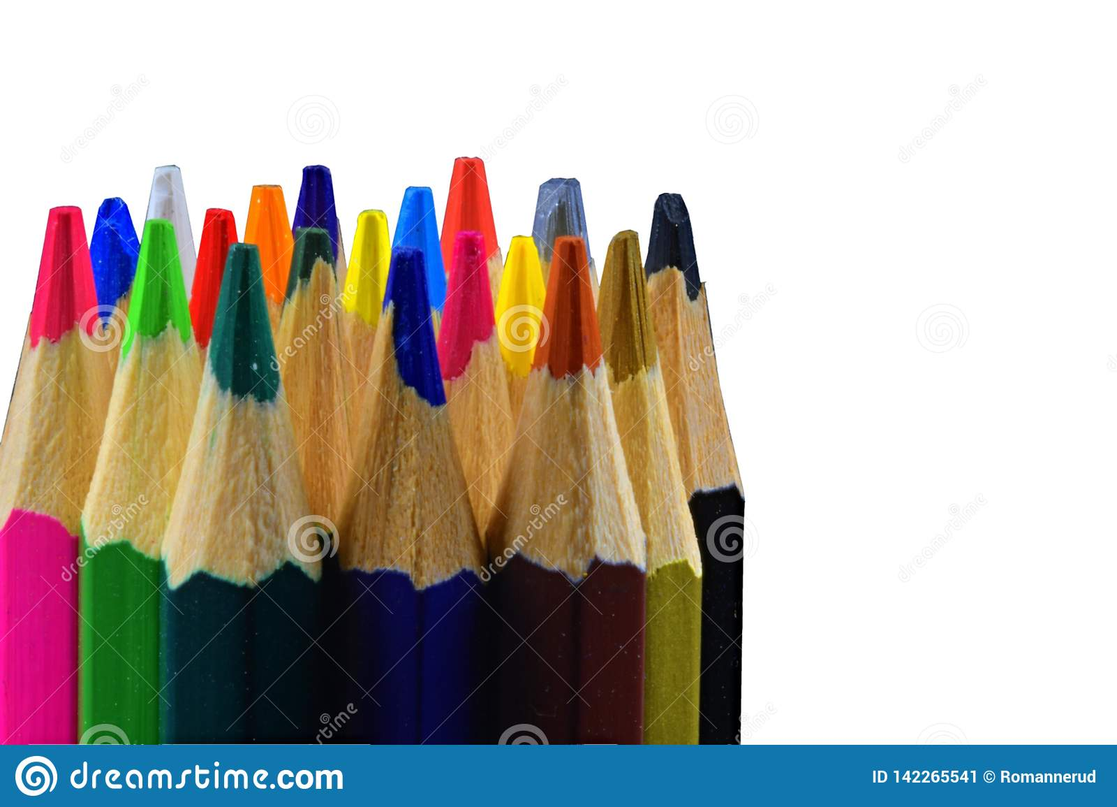 Tips of colored pencils on white background. Back to school. Copy space. Close up