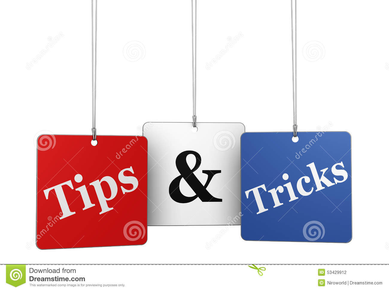 Tips And Tricks Web Tags Stock Photo