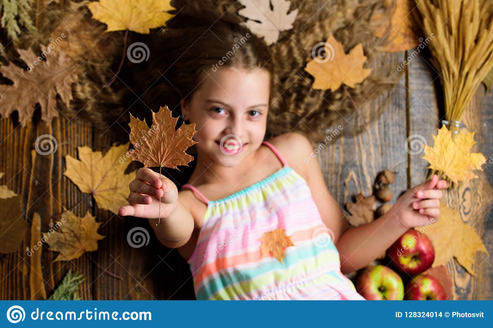 Tips for turning autumn into best season kid girl smiling face relax wooden background autumn