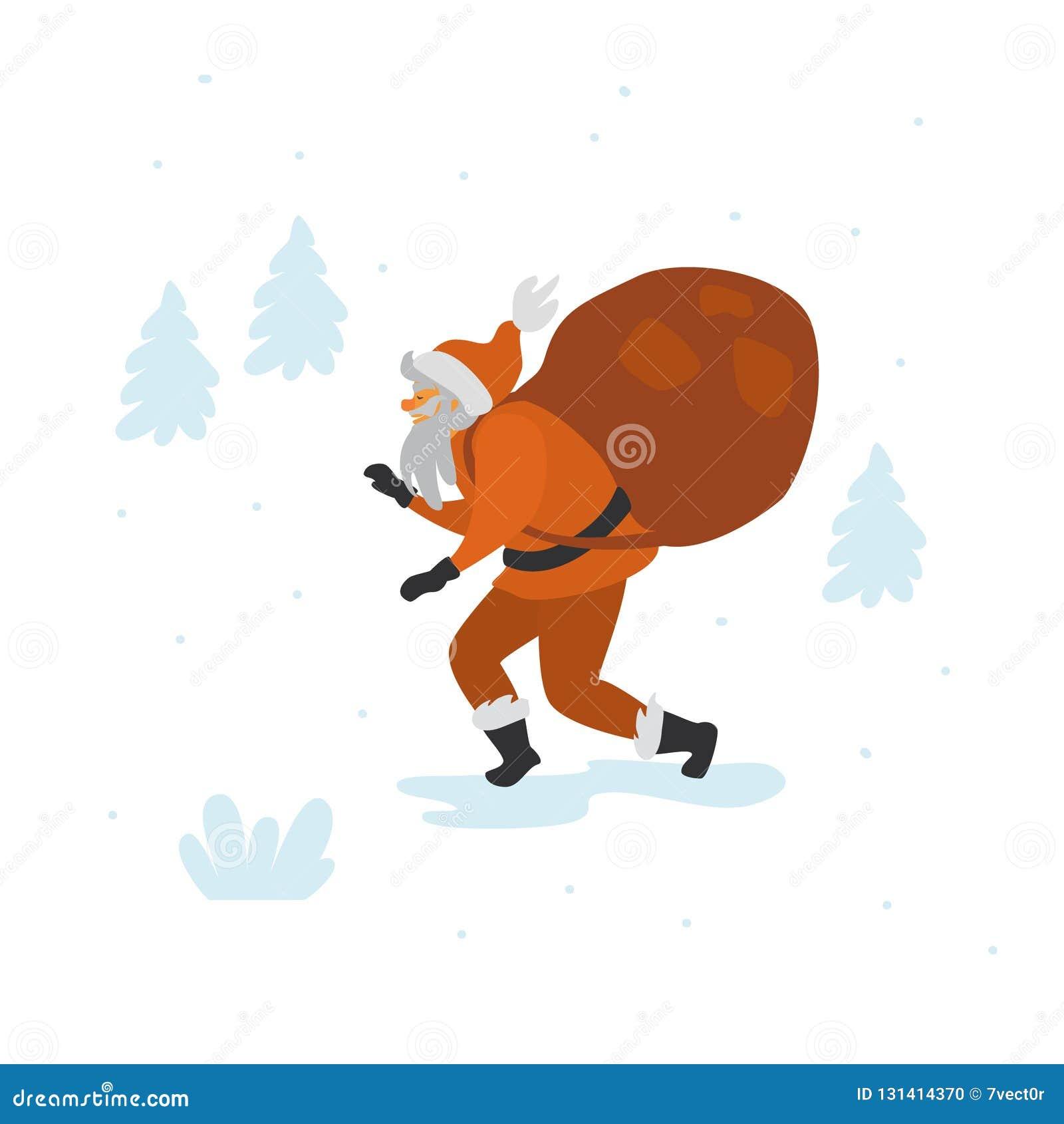 Tiptoe die van de Kerstman met zak lopen van stelt geïsoleerde vectorillustratie voor