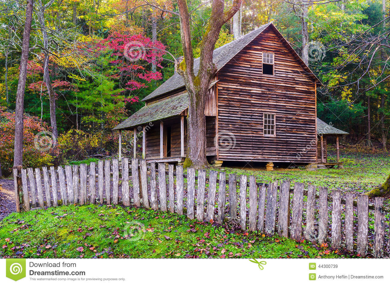 Log Cabin Cades Cove Great Smoky Mountains Park Stock