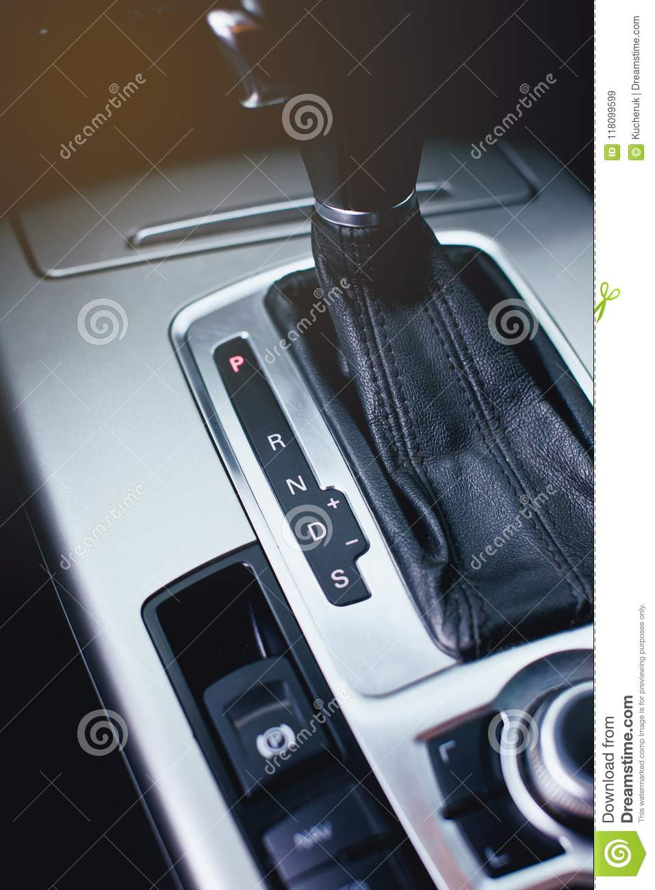 Tiptronic Transmission In Modern Car, Control Buttons  Stock