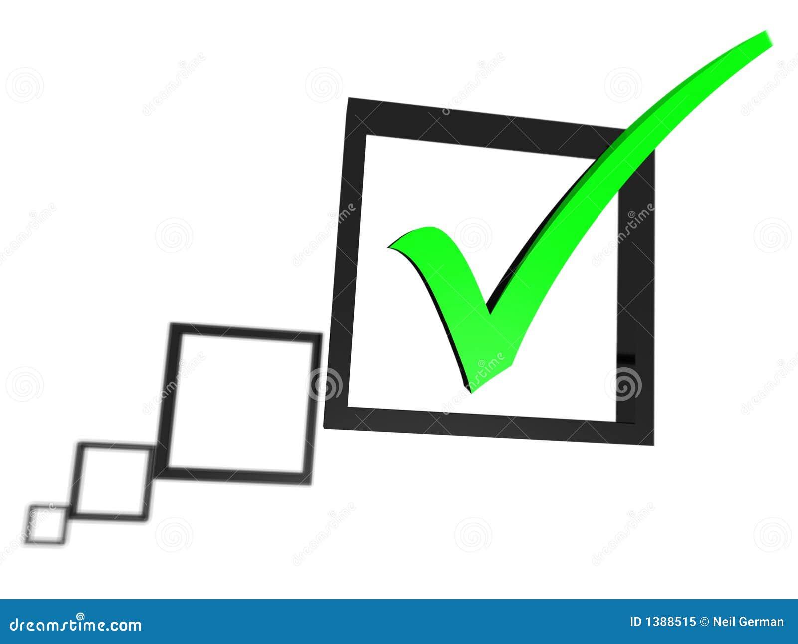 Tiquetaque verde em uma lista da caixa de verificação
