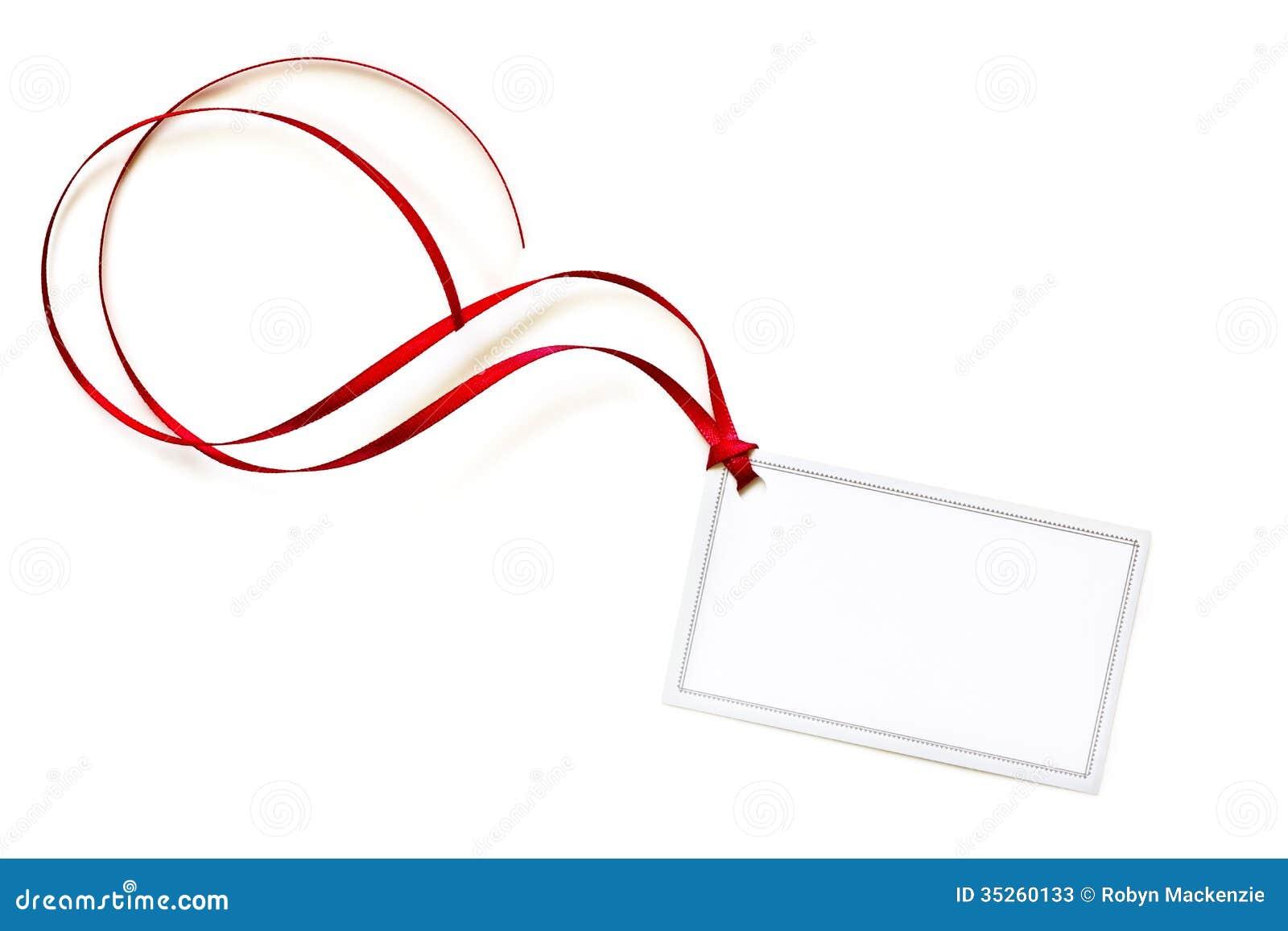 tiquette vide de cadeau avec le ruban de bordage rouge photos stock image 35260133. Black Bedroom Furniture Sets. Home Design Ideas