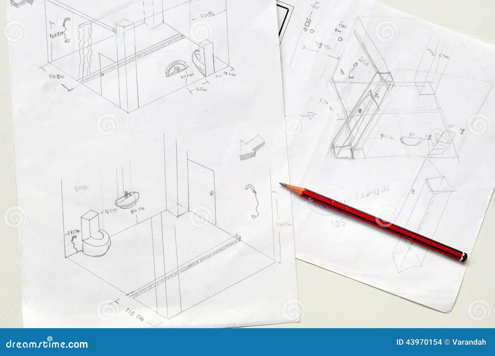 Tir par la main du croquis et du crayon de salle de bains for Croquis salle de bain