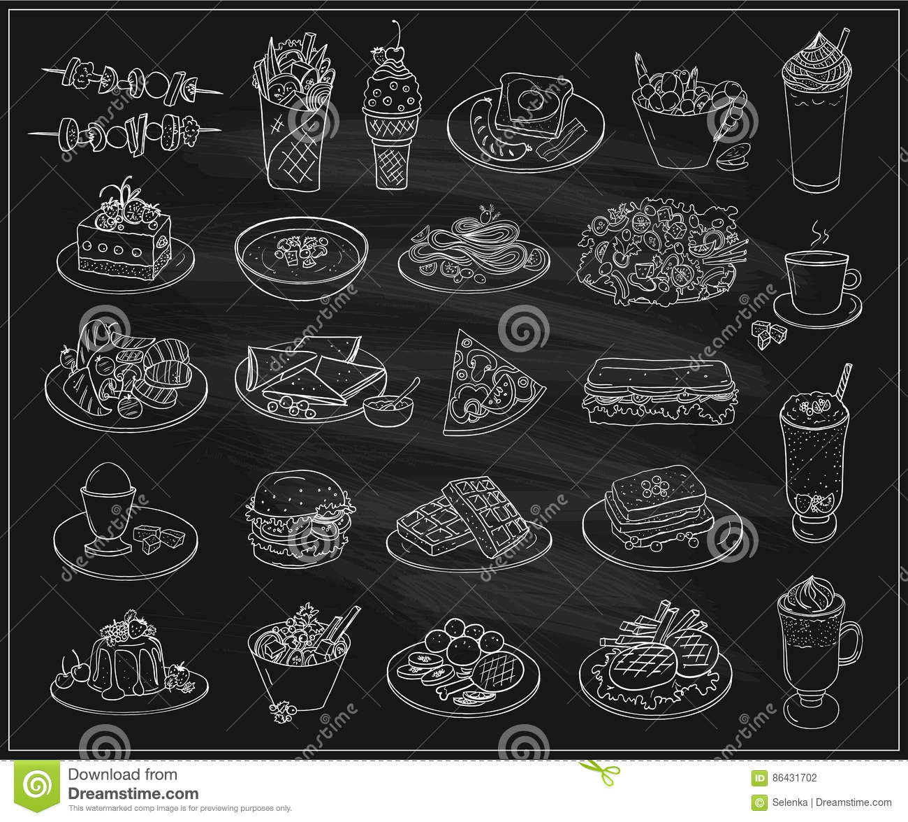 Tiré par la main illustration de symbole graphique à traits de nourriture, de desserts et de boissons assortis, ensemble de symbo