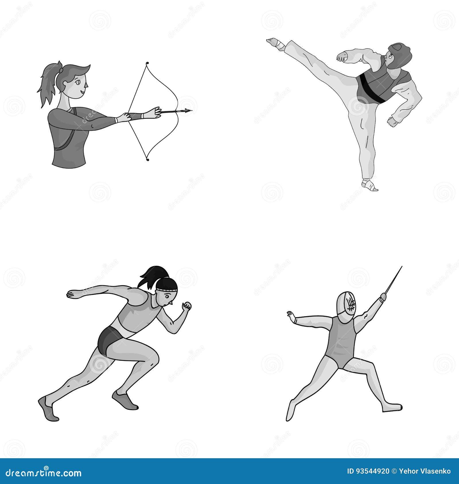 Tir à l arc, karaté, fonctionnement, clôturant Les icônes réglées de collection de sport olympique dans le style monochrome dirig