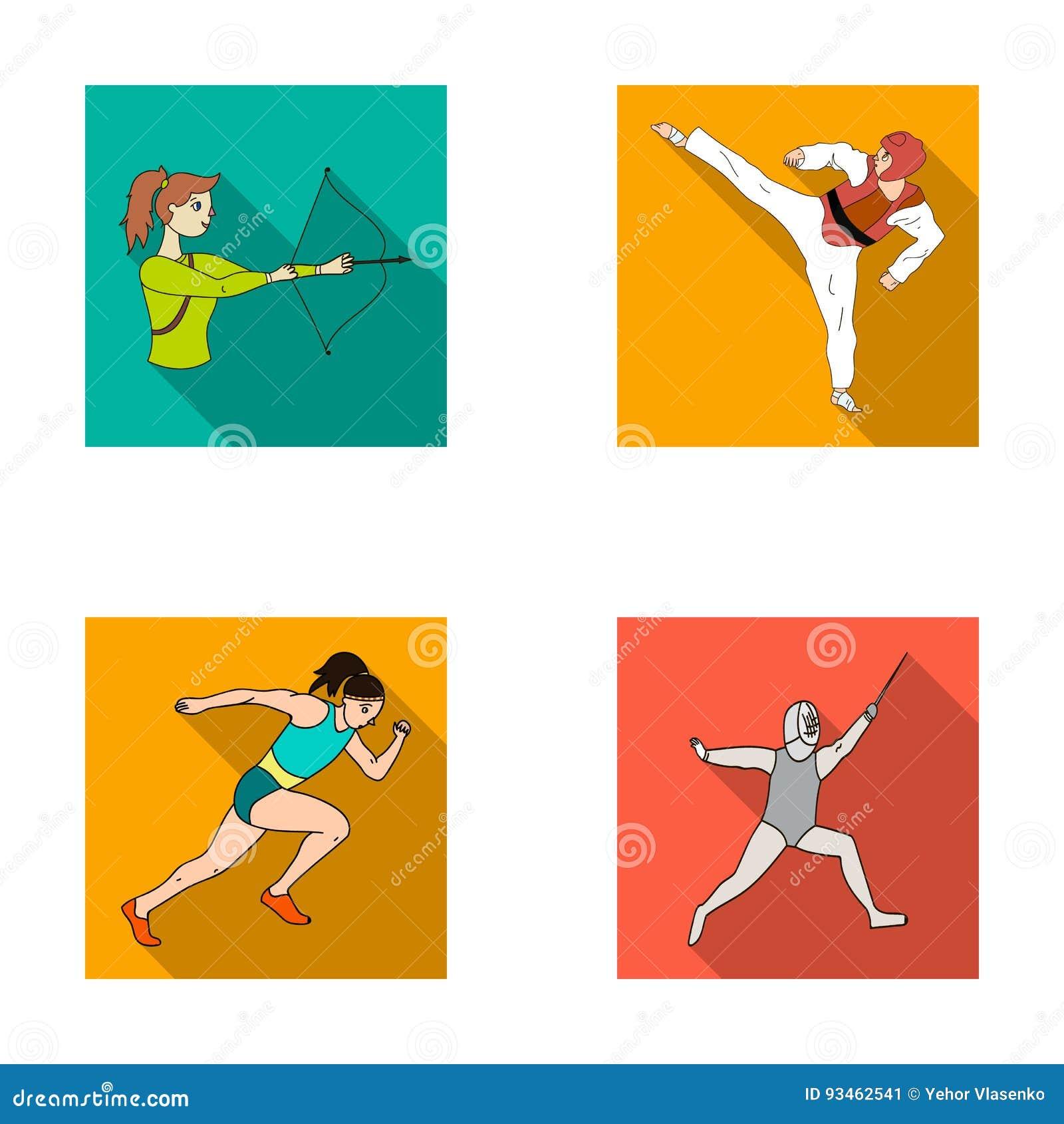 Tir à l arc, karaté, fonctionnement, clôturant Les icônes réglées de collection de sport olympique dans le style plat dirigent le