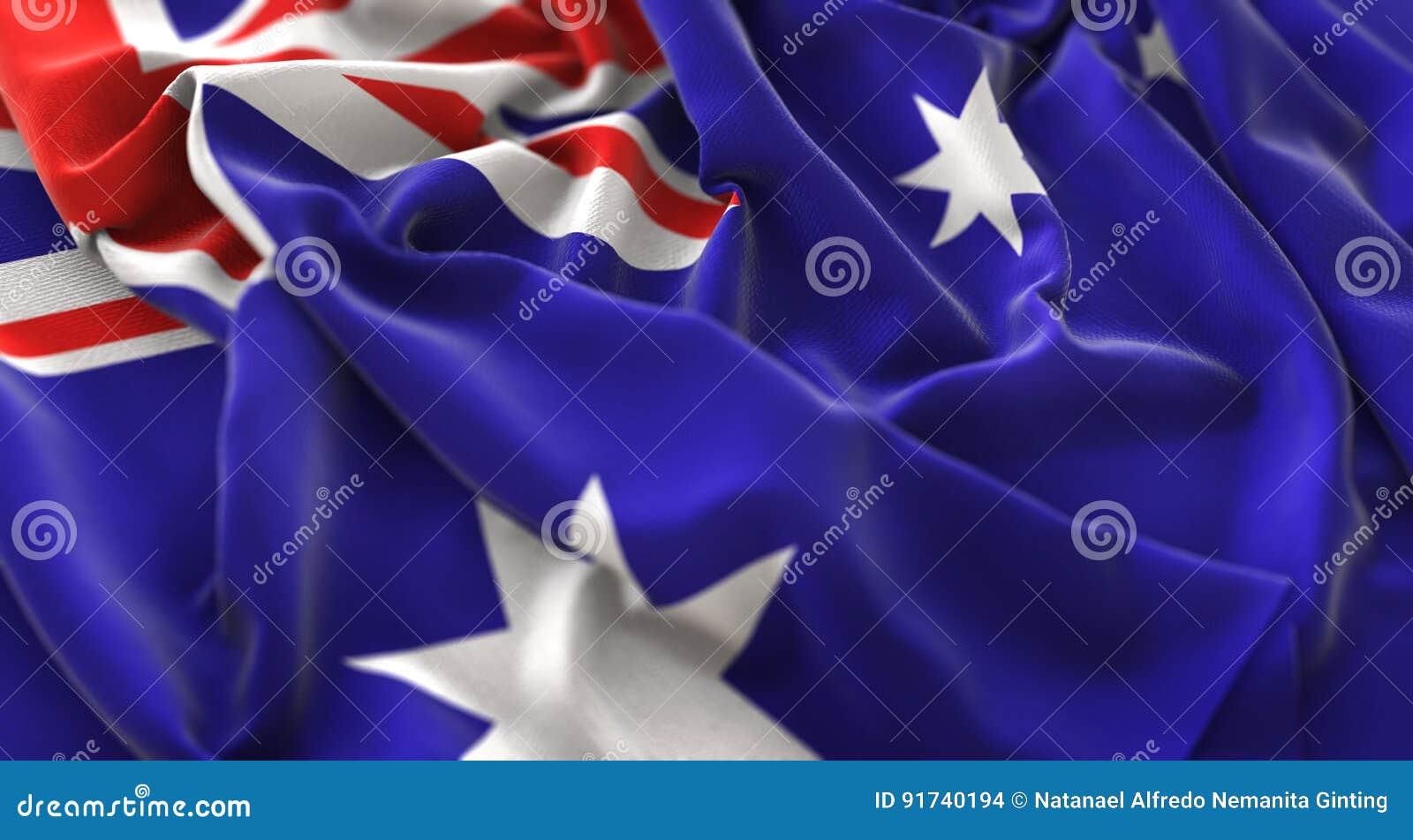 Tir en gros plan admirablement de ondulation hérissé par drapeau d Australie macro