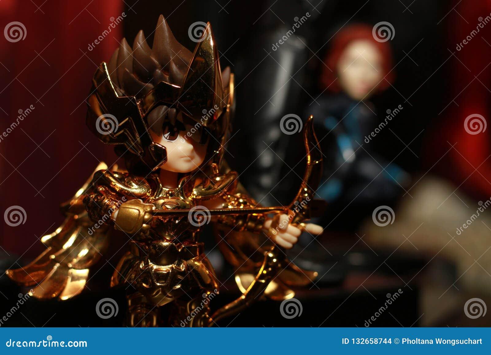 Tir haut étroit de chiffre de super héros de Seiya de saint dans l action