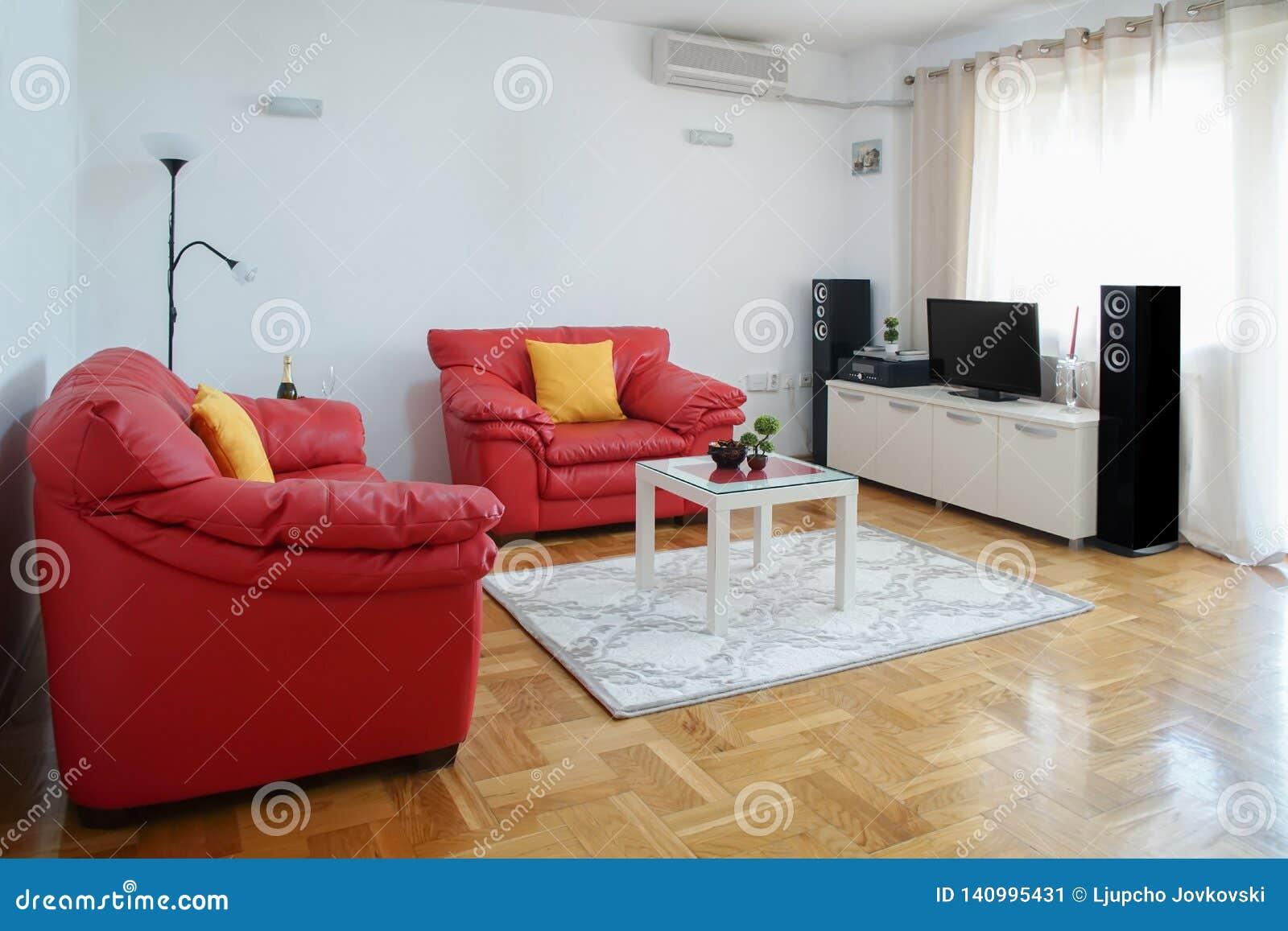 Tir Intérieur D\'un Salon Moderne Salon Avec Le Sofa En Cuir ...