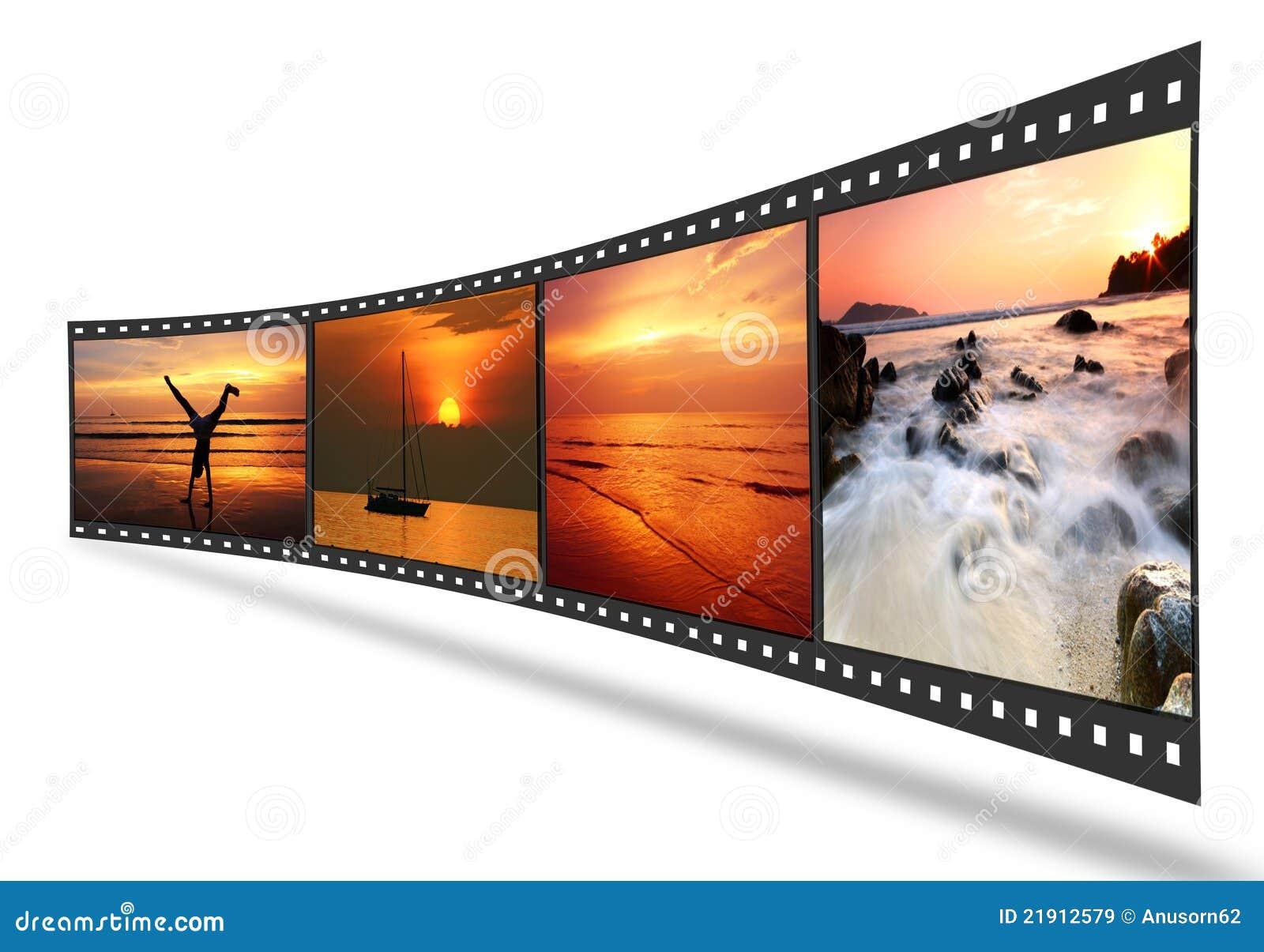 Tira De La Película 3D Con Los Cuadros Agradables Imagen de archivo ...