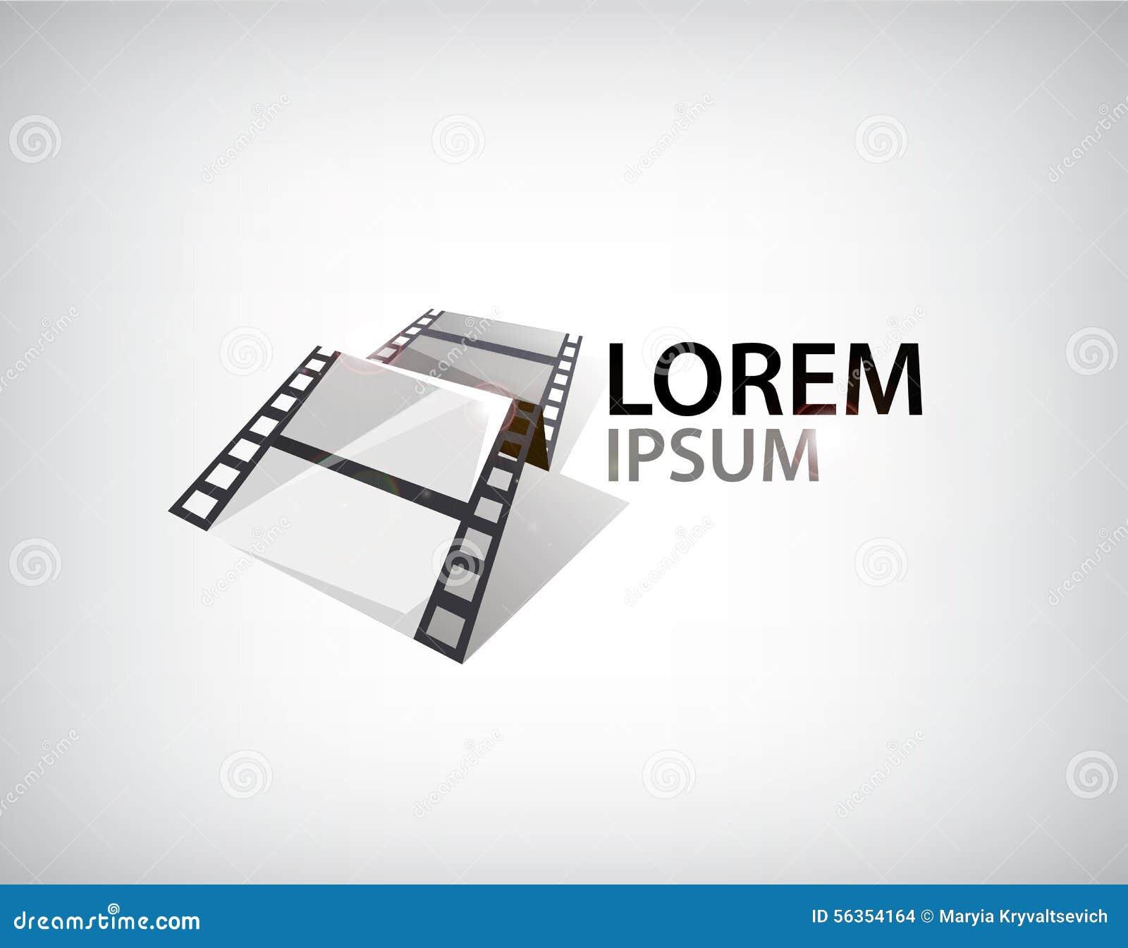 Tira de la película del vector 3d, logotipo de la cinta