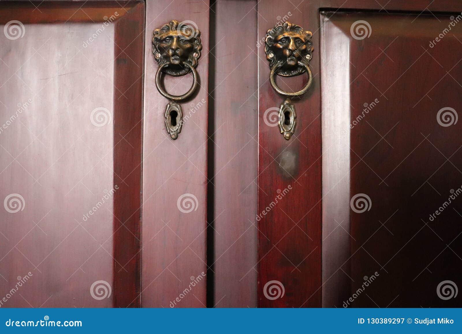 Tiradores De Puerta Principales Del Leon Dos Puertas De Madera