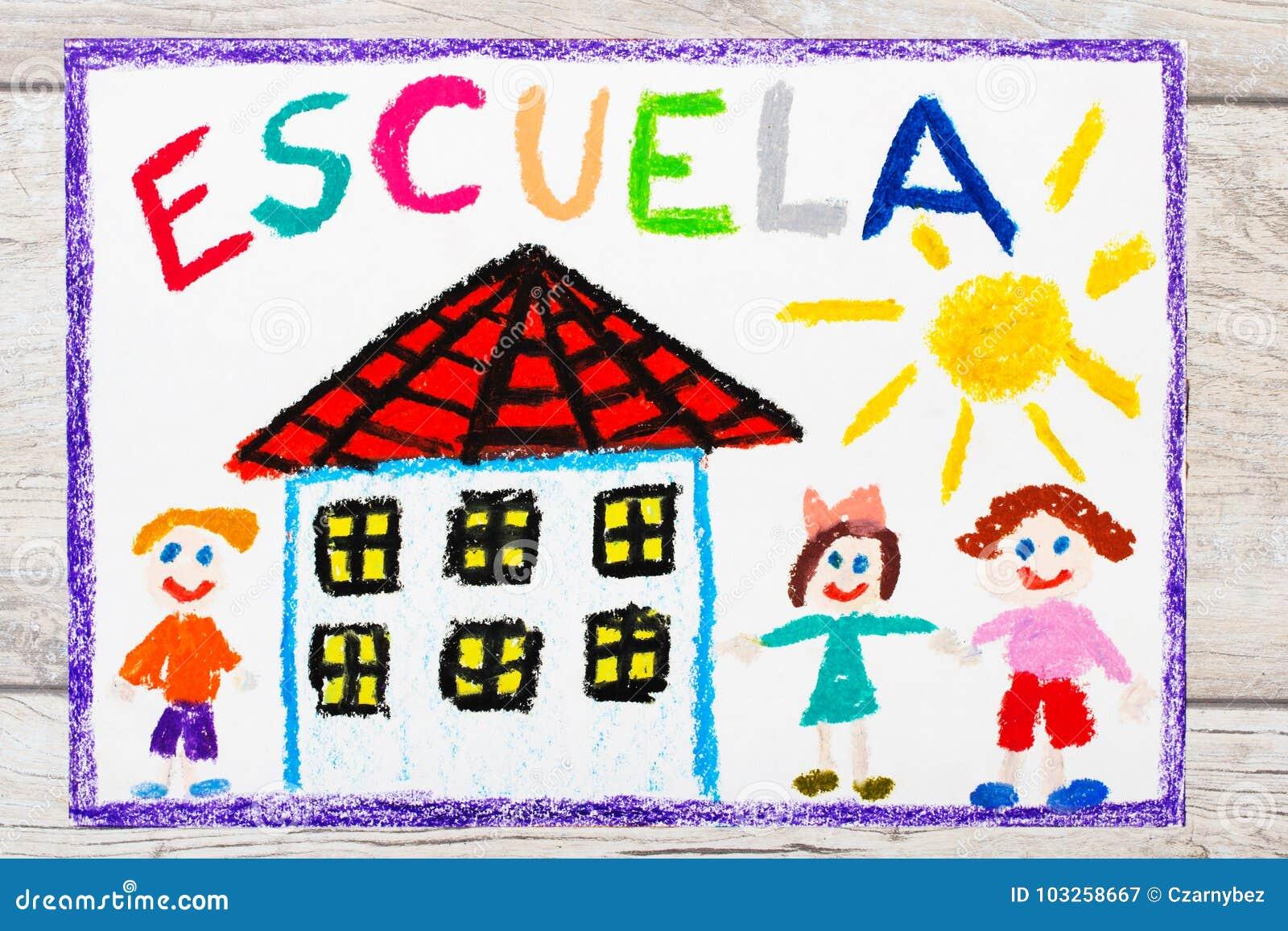 Tiragem: Palavra espanhola ESCOLA, prédio da escola e crianças felizes Primeiro dia na escola